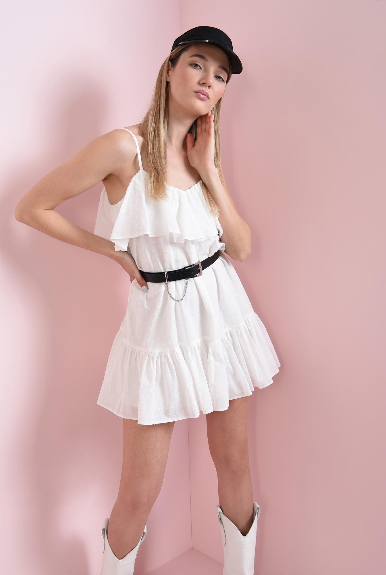 0 - rochie din bumbac, cu bretele subtiri