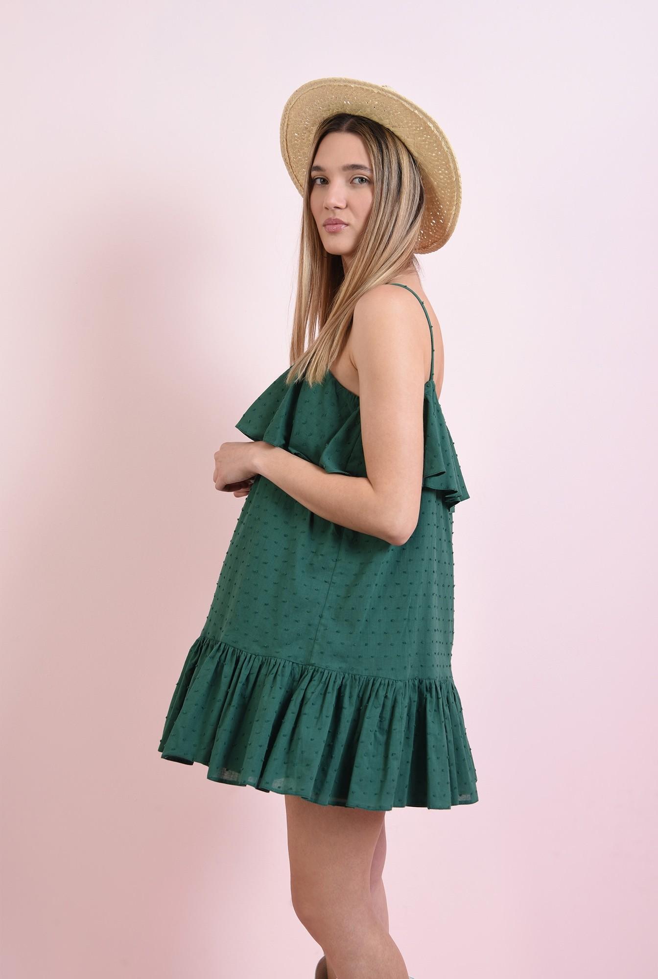 1 - rochie din bumbac, cu plumeti