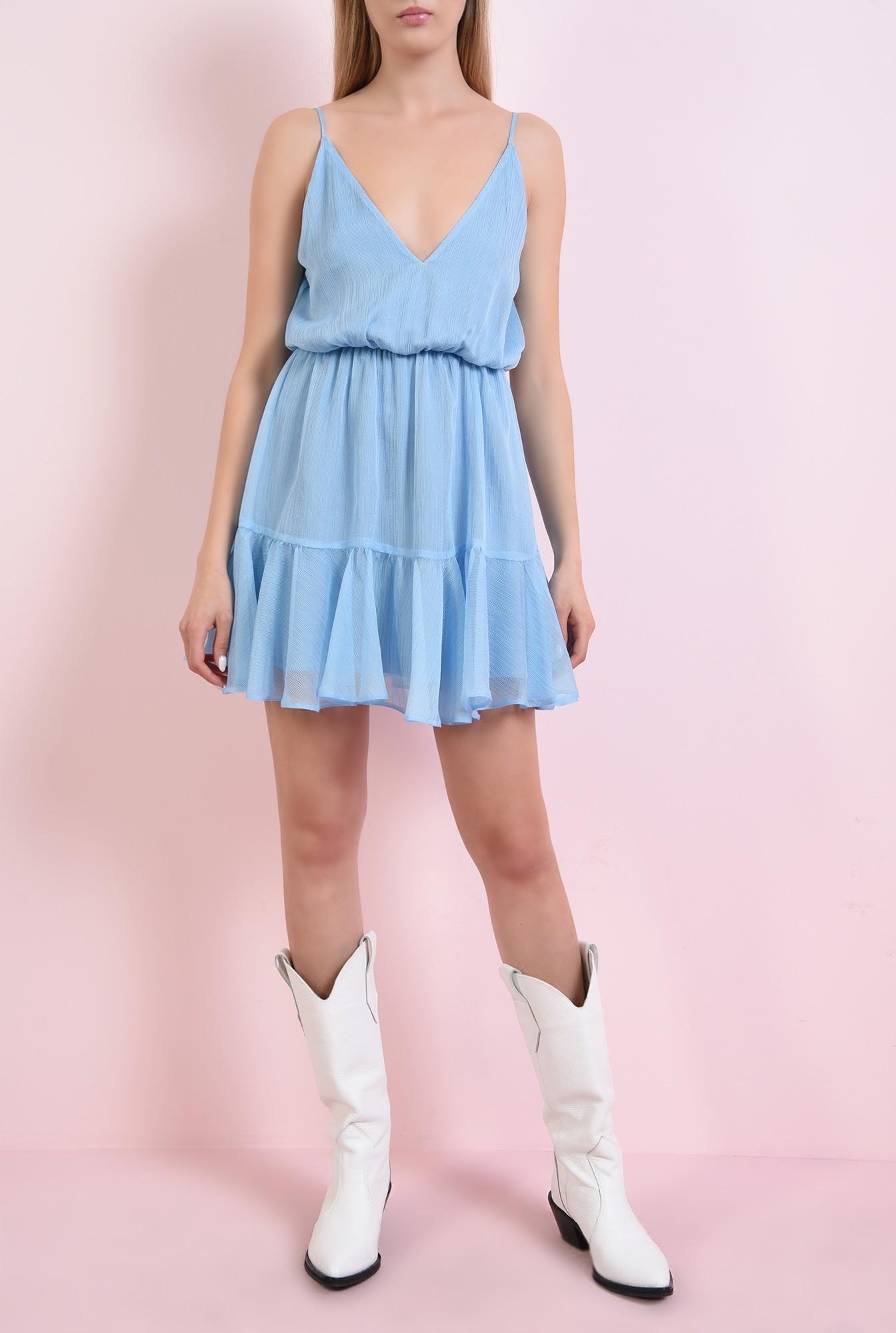 2 - 360 - rochie bleu, cu bretele, stransa la talie