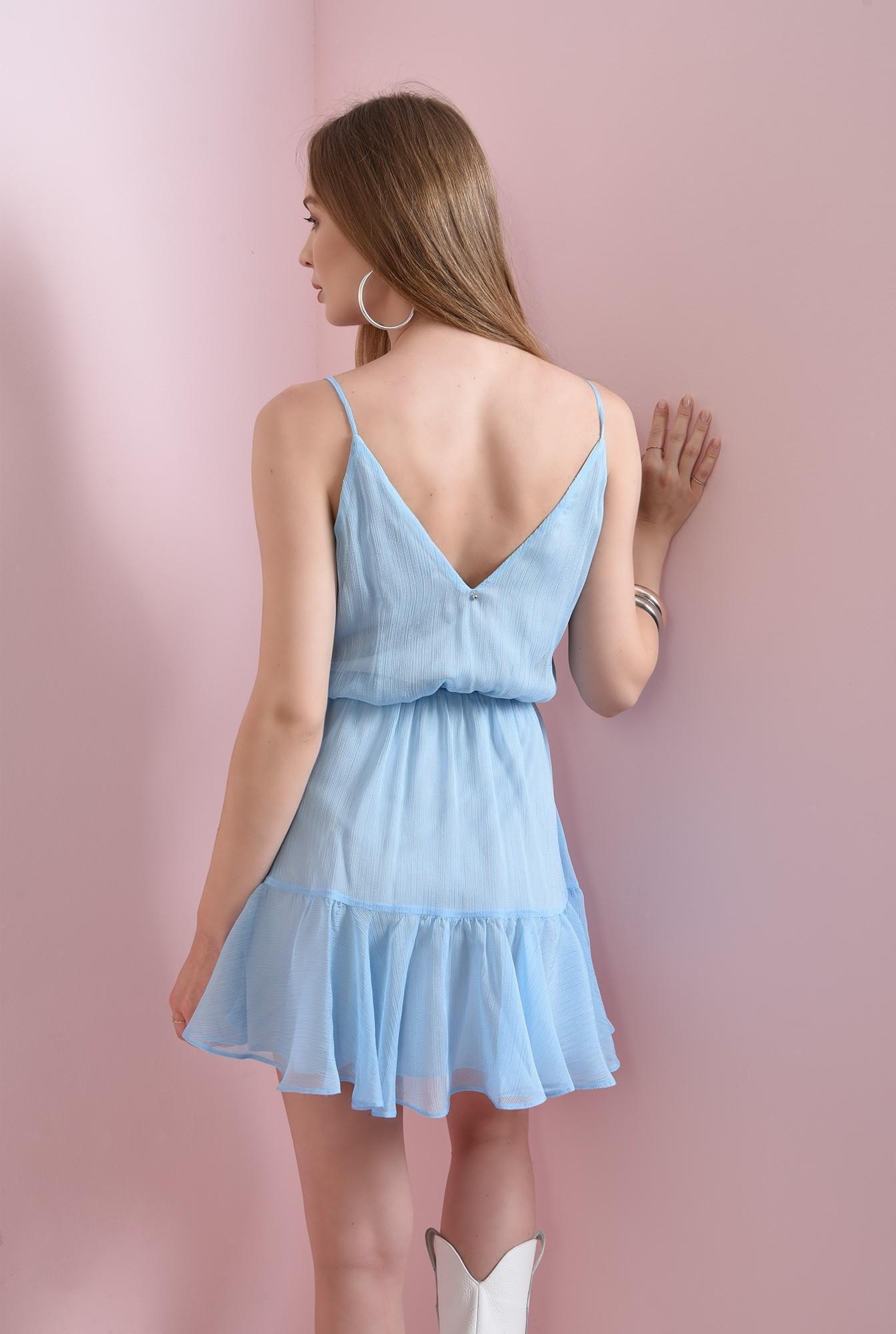 1 - rochie bleu, scurta, cu volan