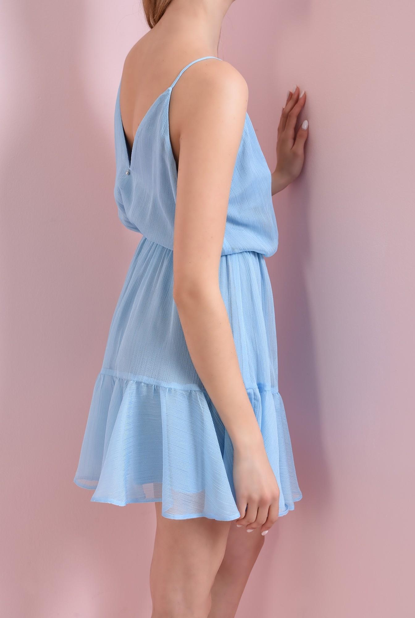 1 - 360 - rochie bleu, cu bretele, stransa la talie