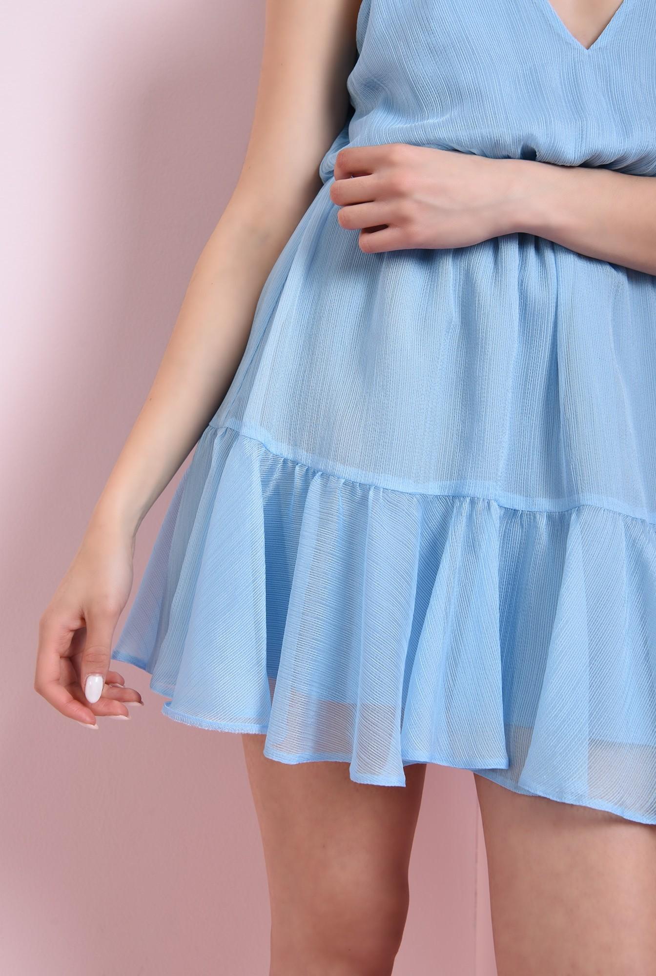 2 - rochie bleu, scurta, cu volan