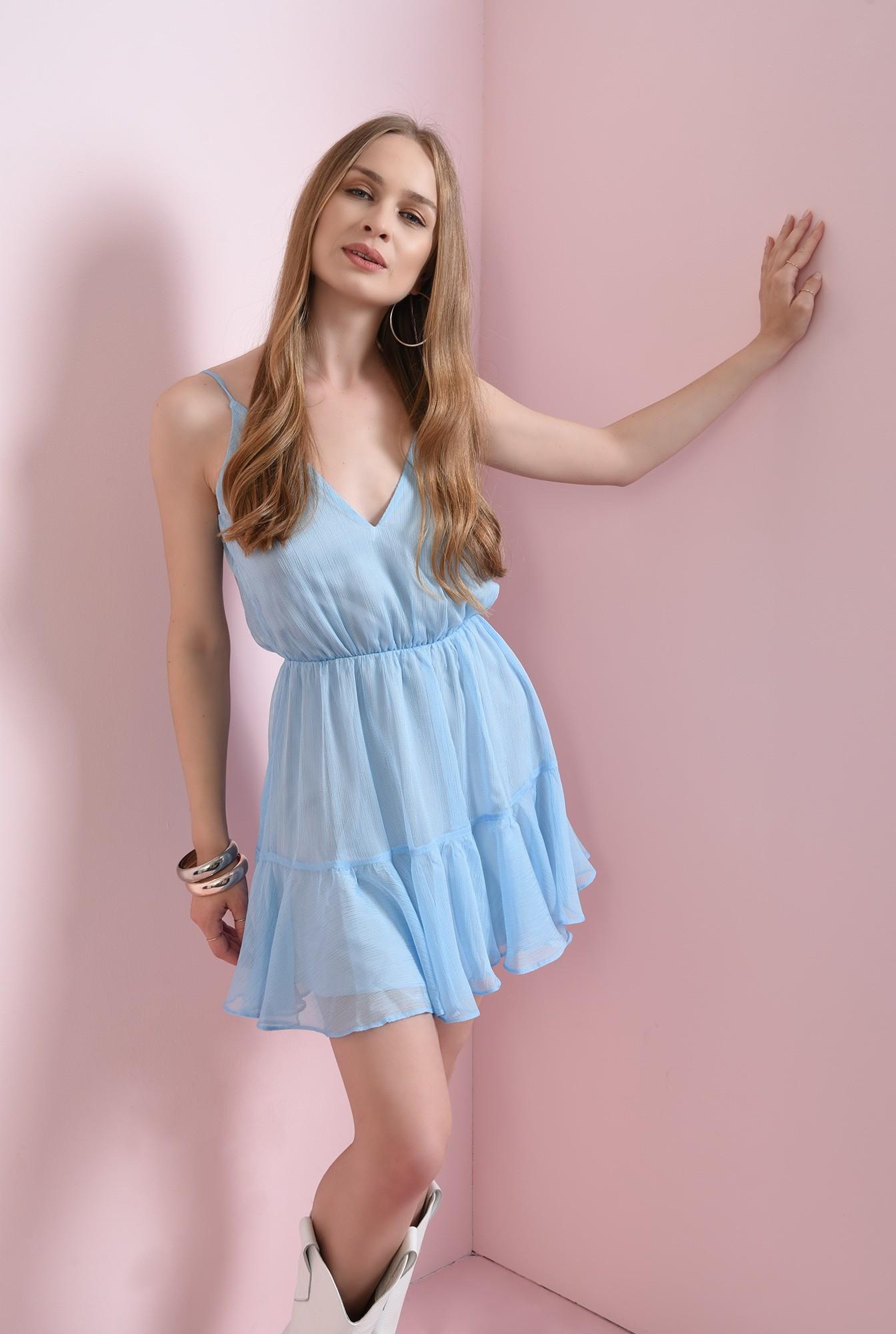 0 - rochie bleu, scurta, cu volan