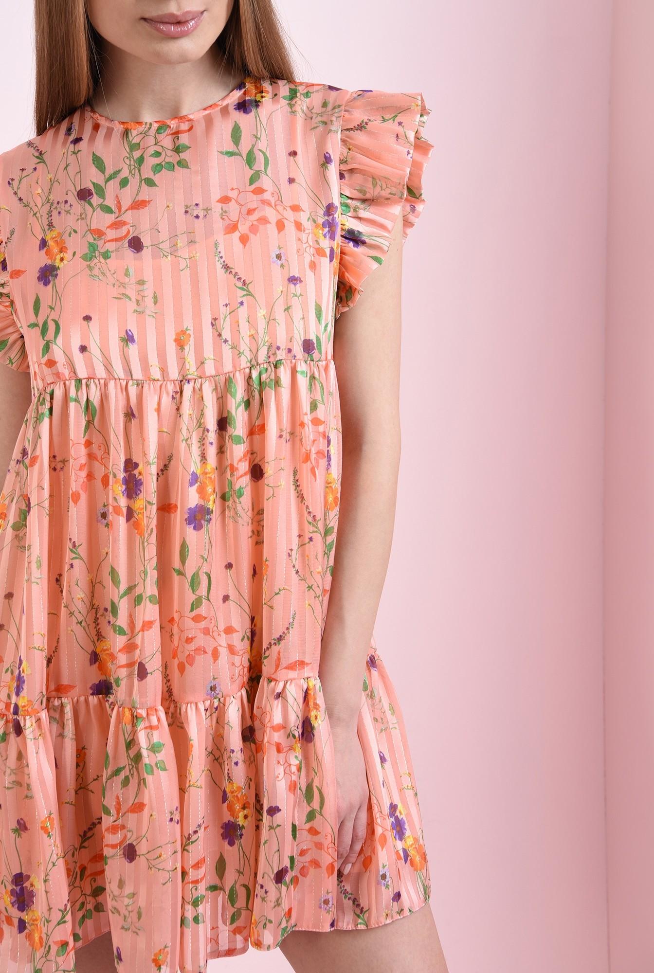 2 - rochie mini, evazata, roz, Poema