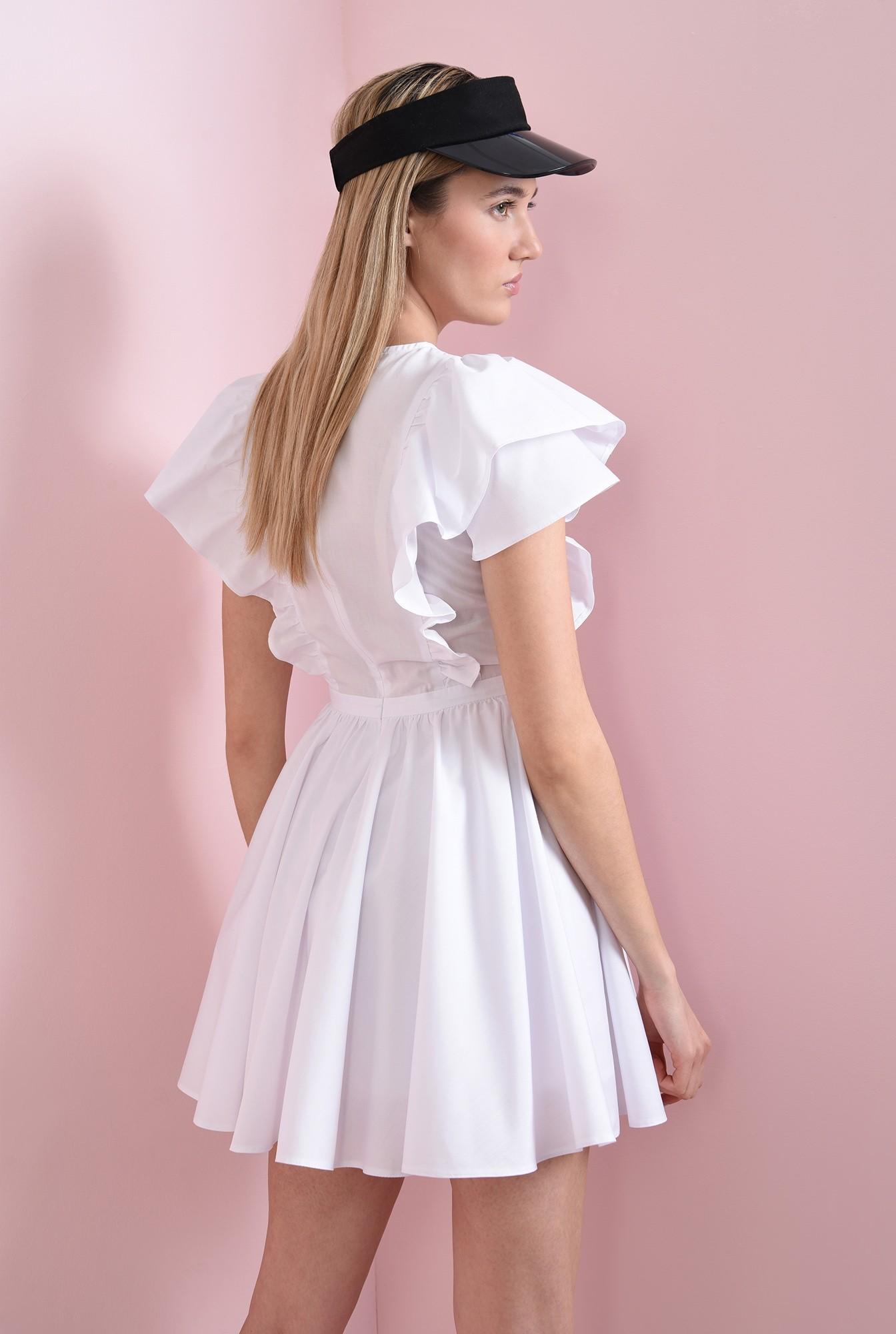 2 - rochie scurta, cu volane la umeri