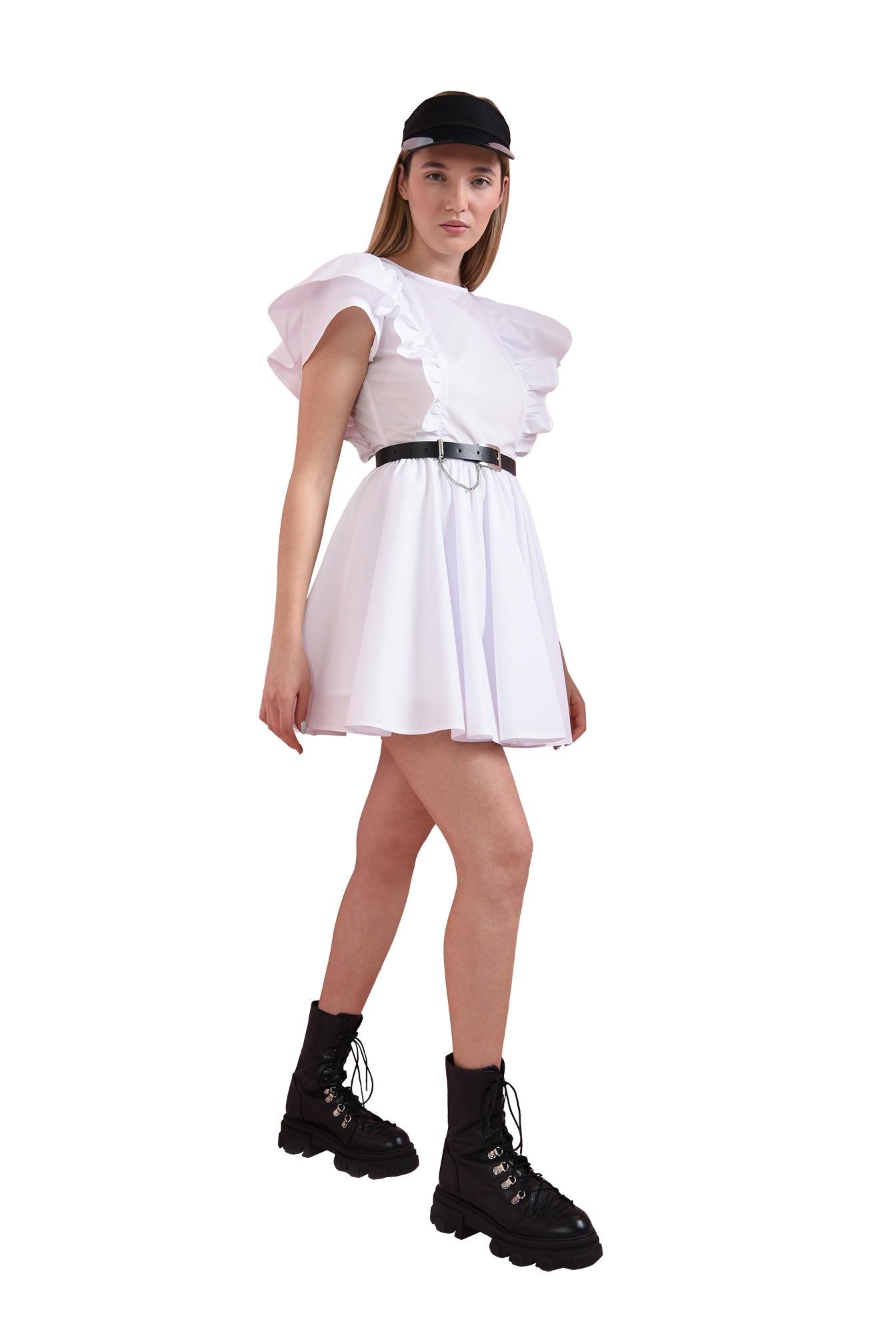 3 - rochie scurta, cu volane la umeri