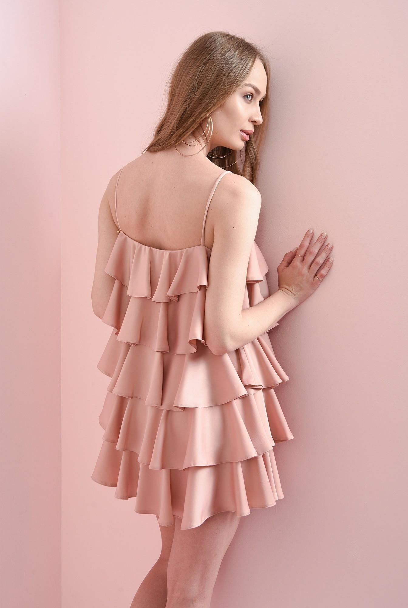1 - rochie roz pastel, cu volane suprapuse