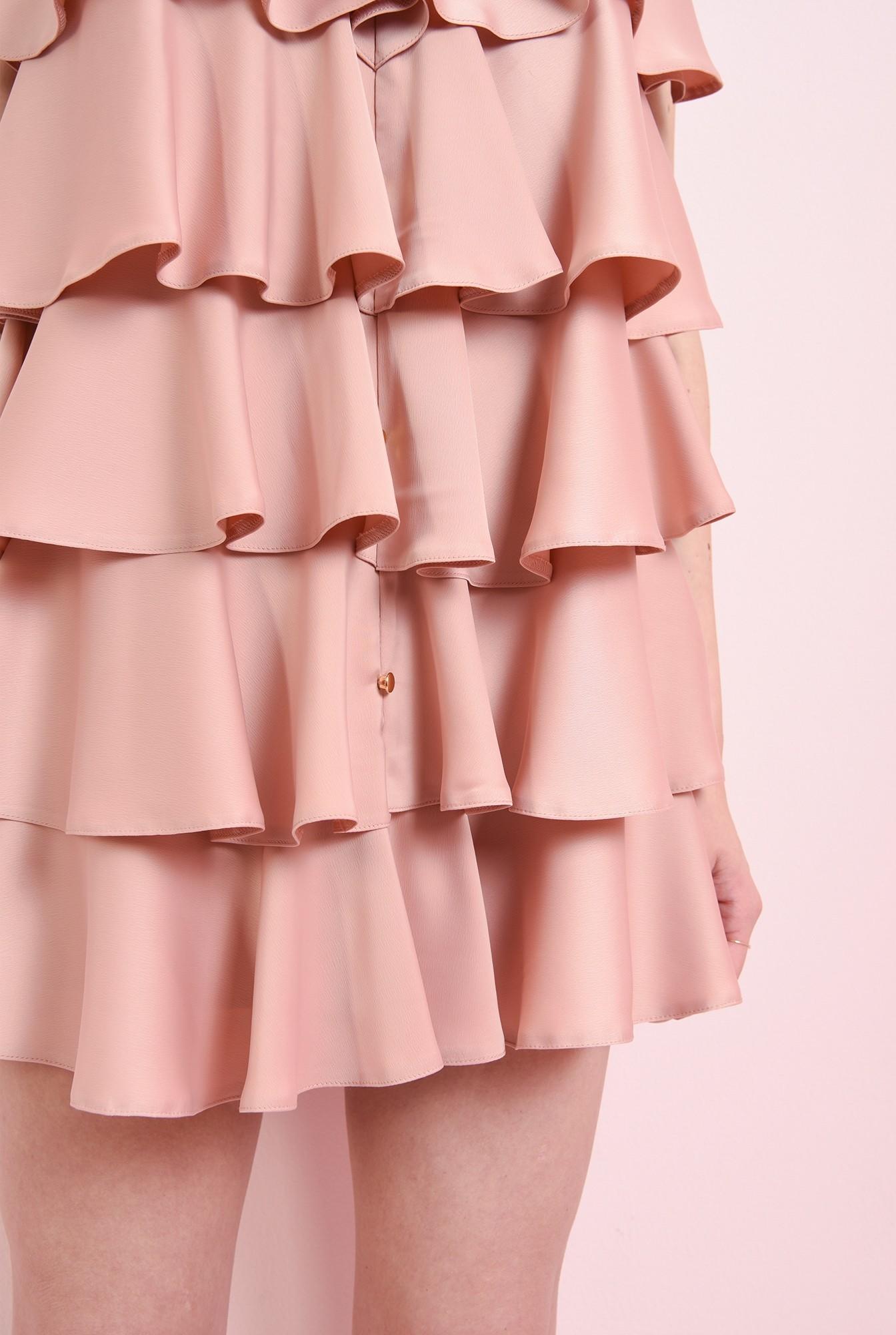 2 - rochie roz pastel, cu volane suprapuse
