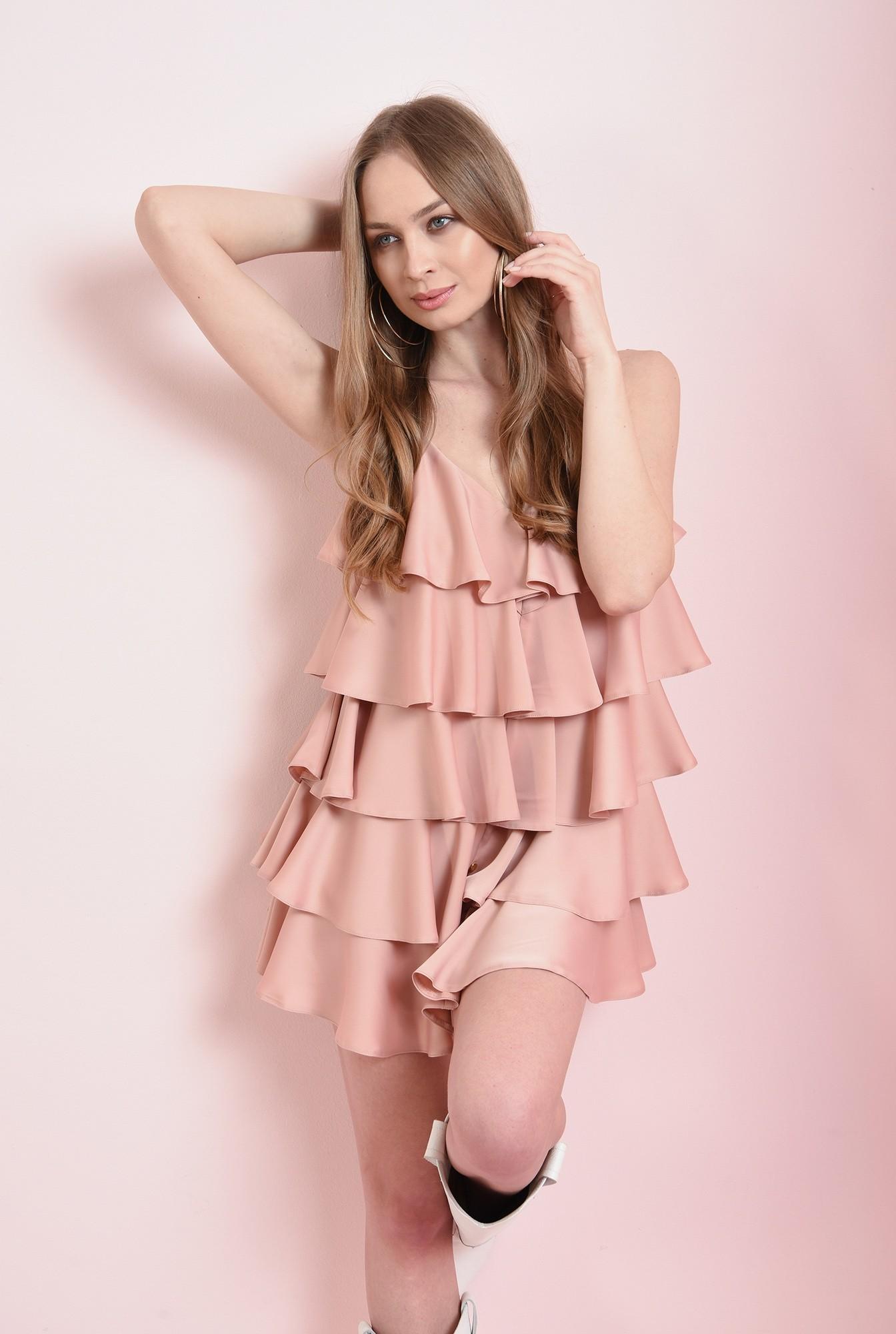 0 - rochie roz pastel, cu volane suprapuse