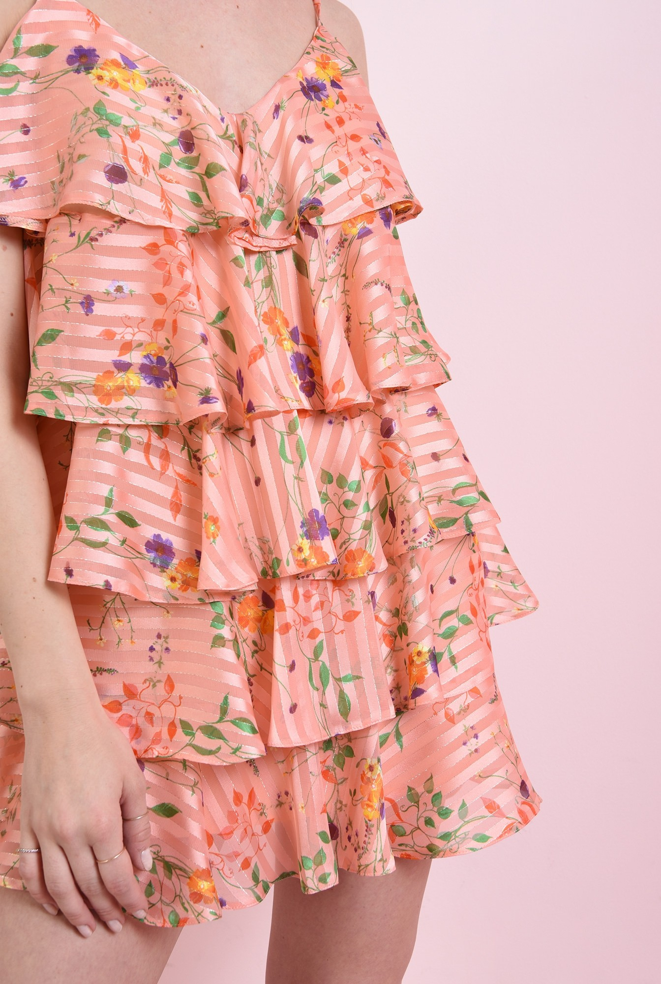 2 - rochie roz, cu volane, cu bretele, Poema