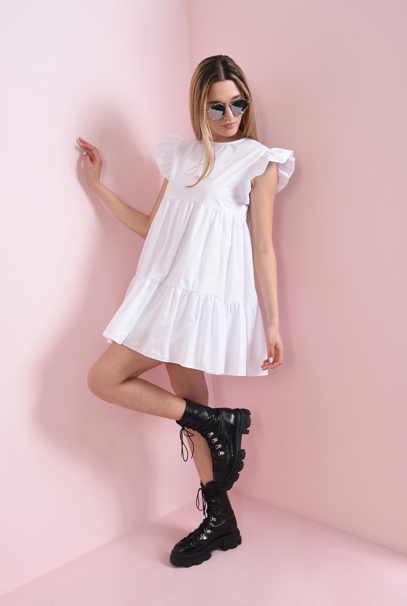 1 - rochie scurta, alba, din bumbac