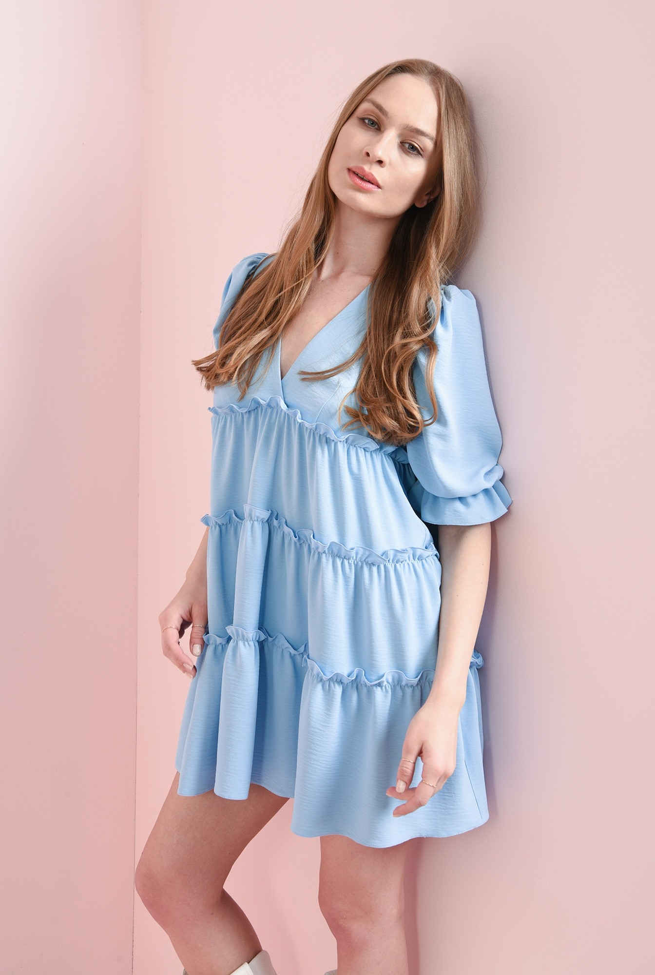 1 - rochie bleu, cu maneca voluminoasa