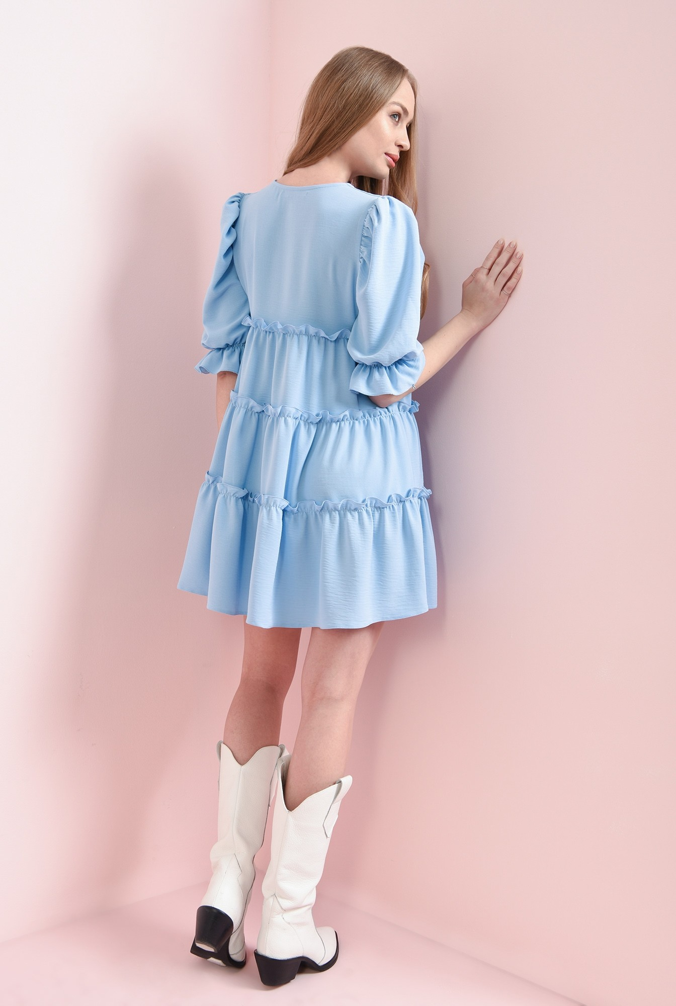 2 - rochie bleu, cu maneca voluminoasa
