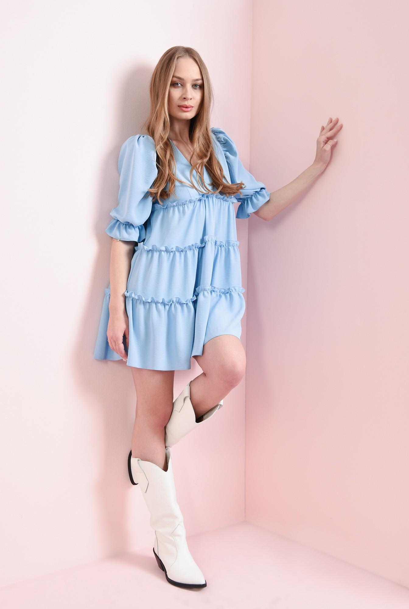 0 - rochie bleu, cu maneca voluminoasa
