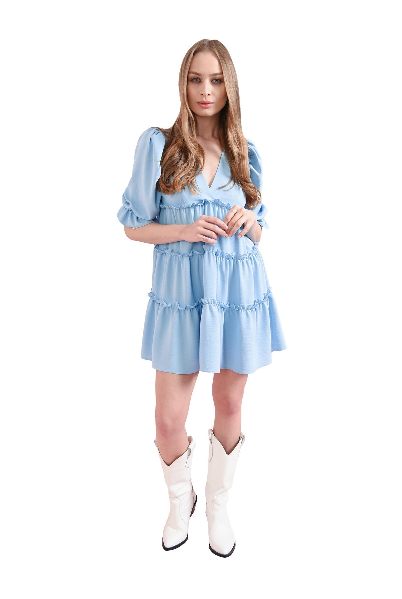 3 - rochie bleu, cu maneca voluminoasa