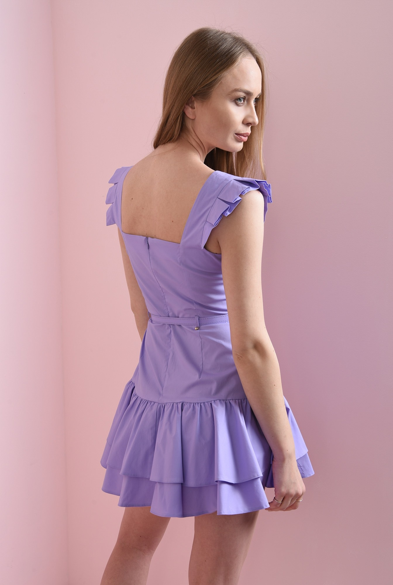 1 - rochie scurta, lila, tip sarafan