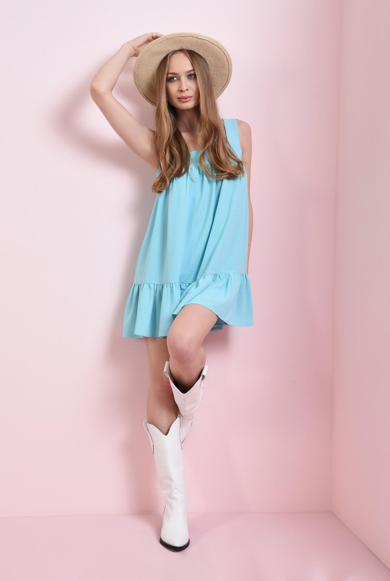 1 - rochie scurta, aqua, cu decolteu geometric