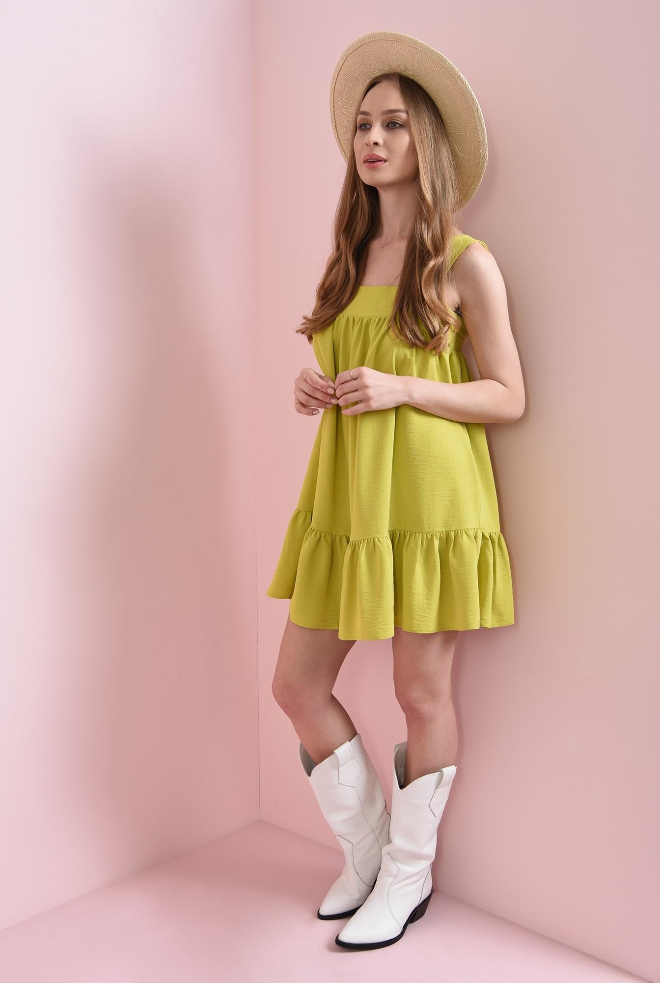 1 - rochie lime, cu decolteu geometric