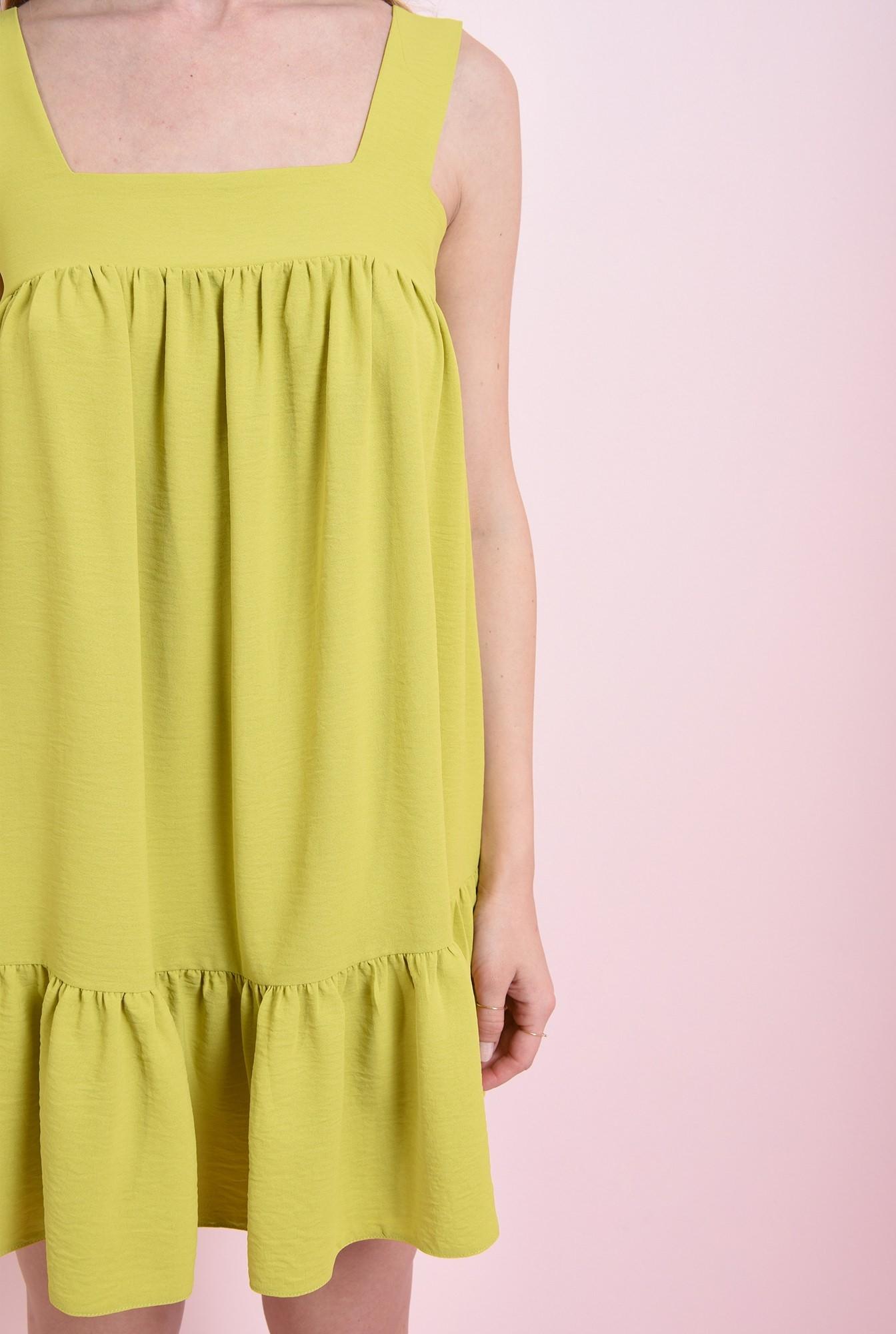 2 - rochie lime, cu decolteu geometric