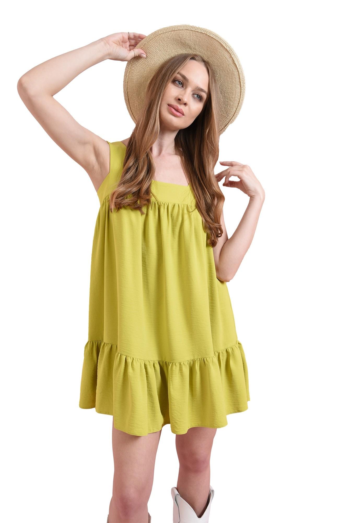 3 - rochie lime, cu decolteu geometric