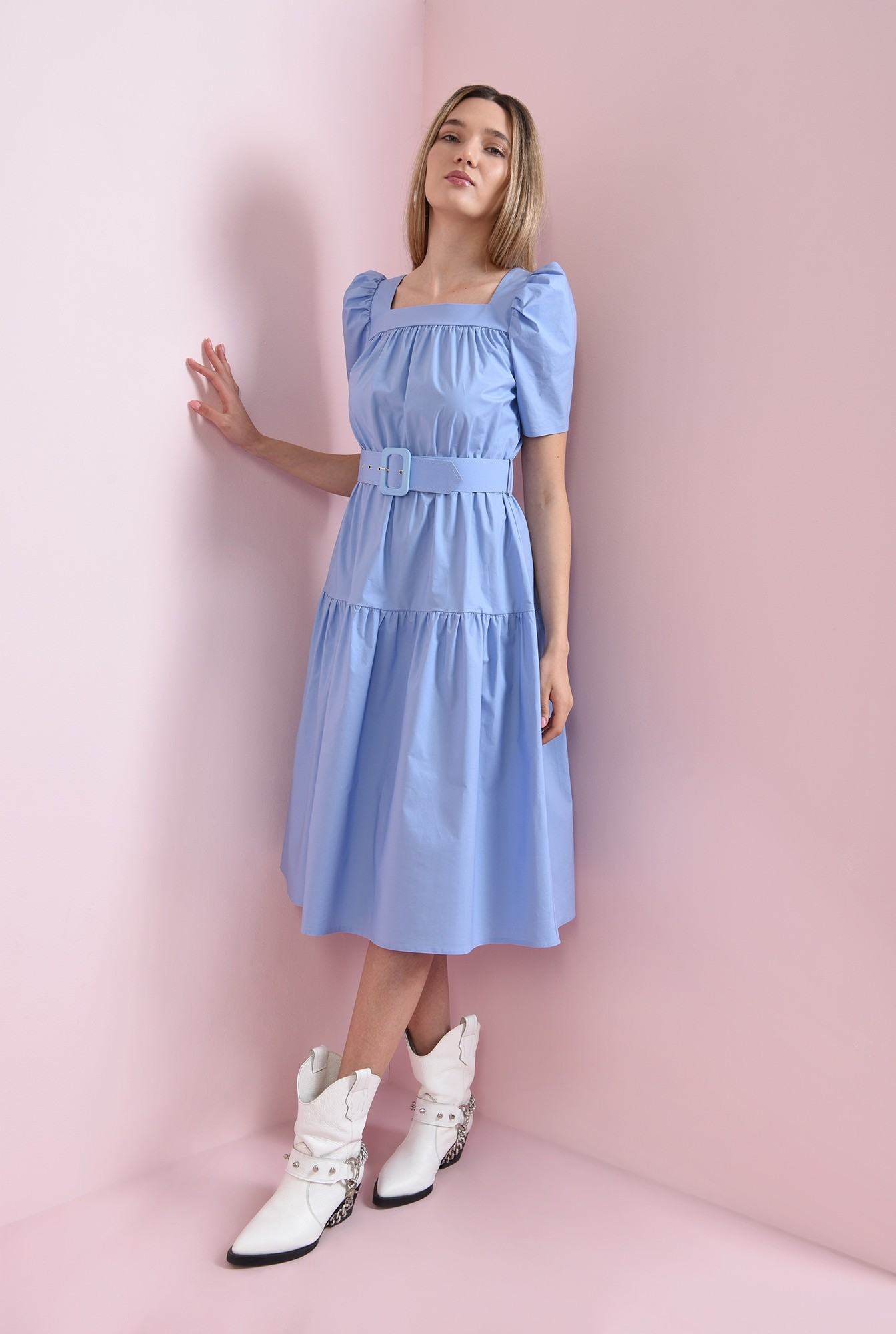 0 - rochie din bumbac, bleu, Poema