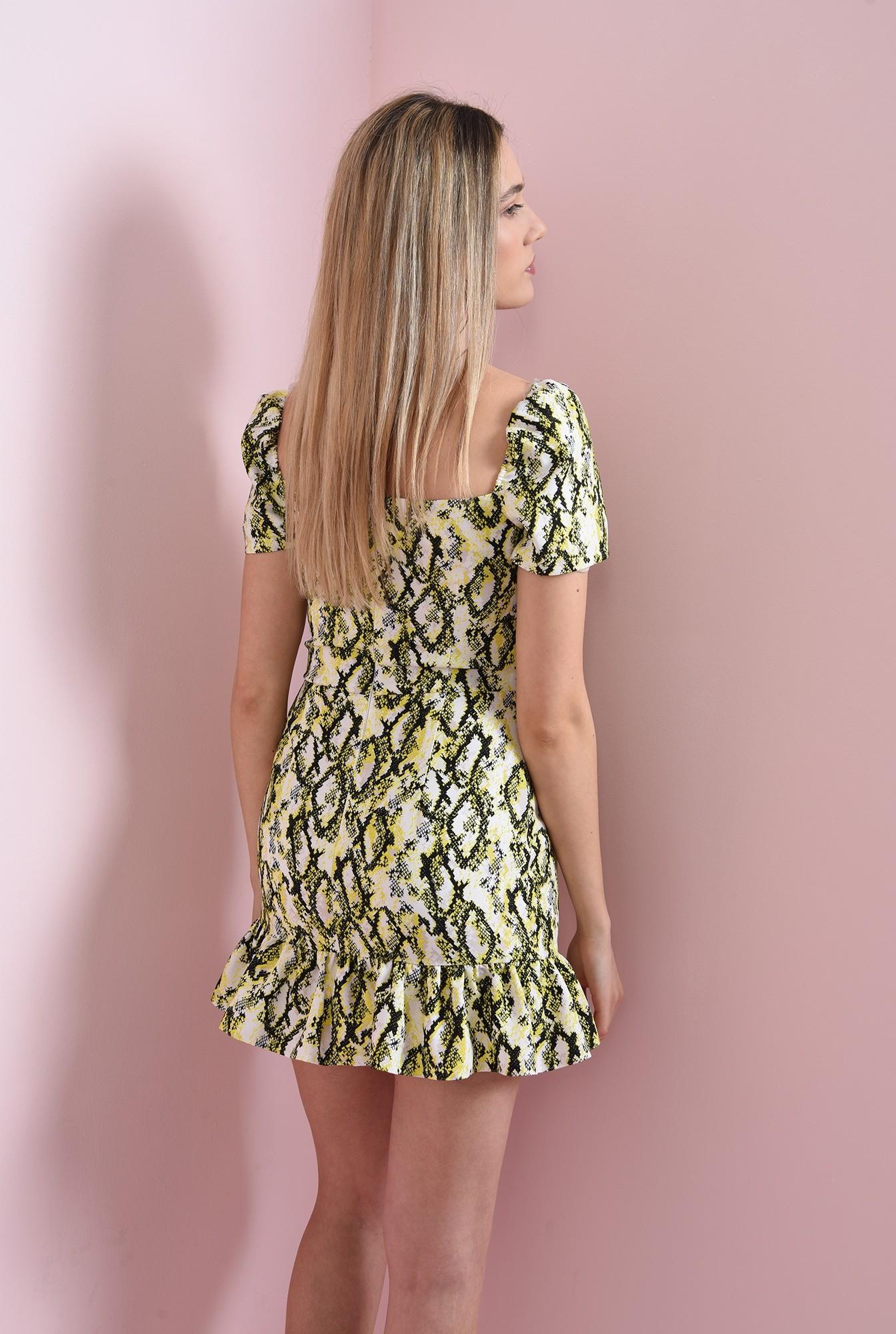 2 - rochie cu imprimeu sarpe, cu maneca scurta