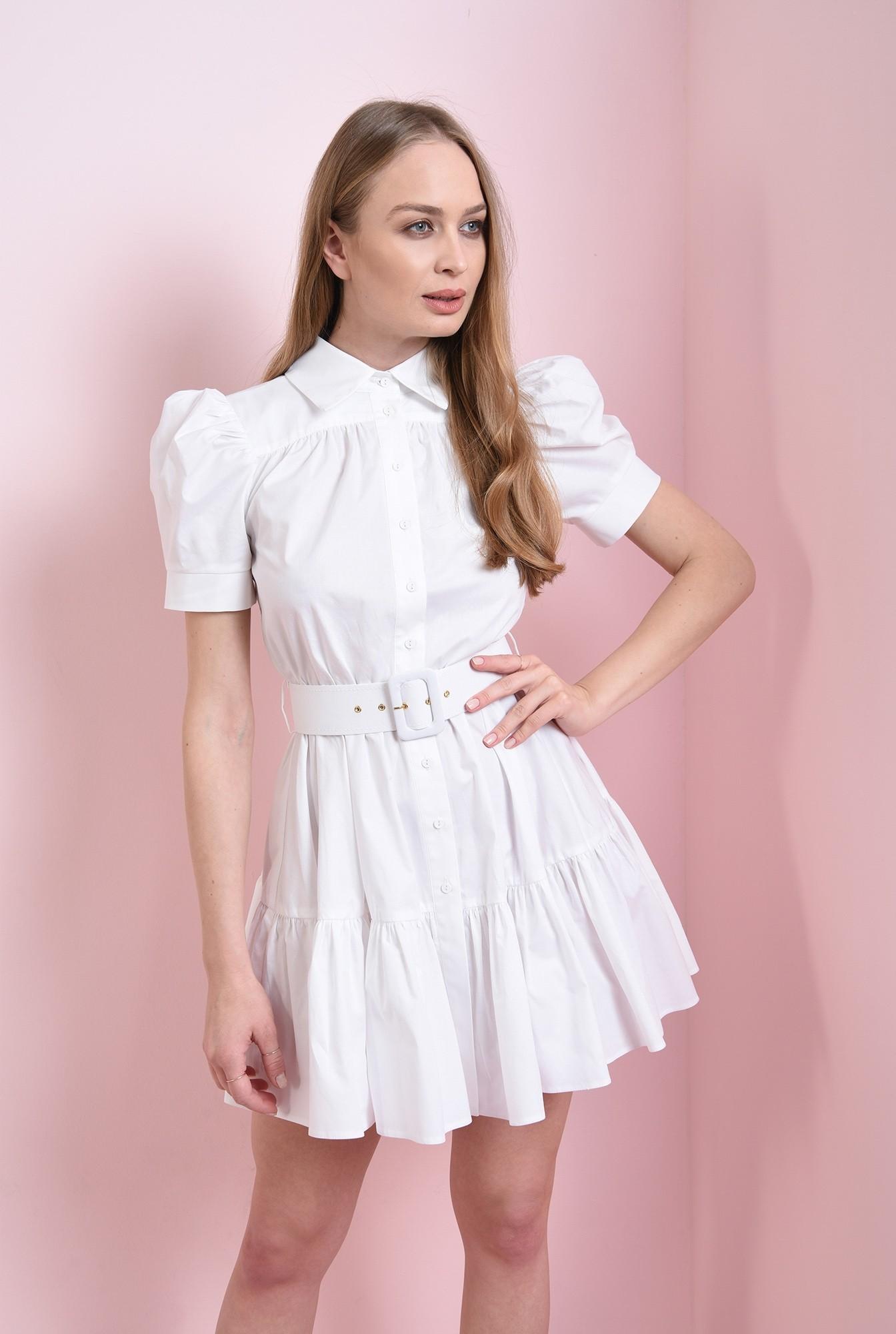 1 - rochie scurta, din bumbac, cu centura