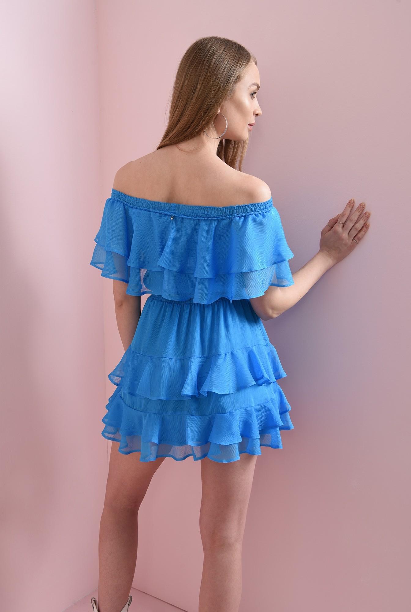 1 - rochie albastra, evazata, cu volane