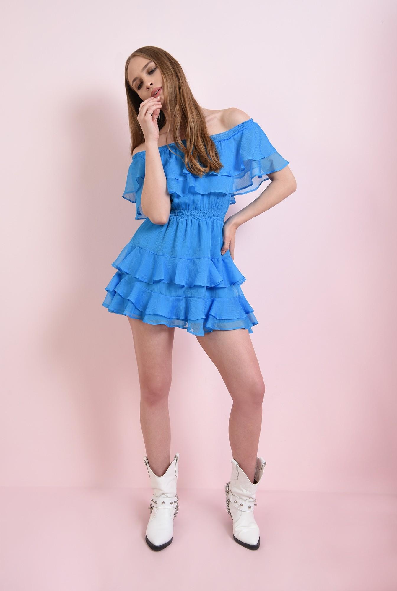 2 - rochie albastra, evazata, cu volane