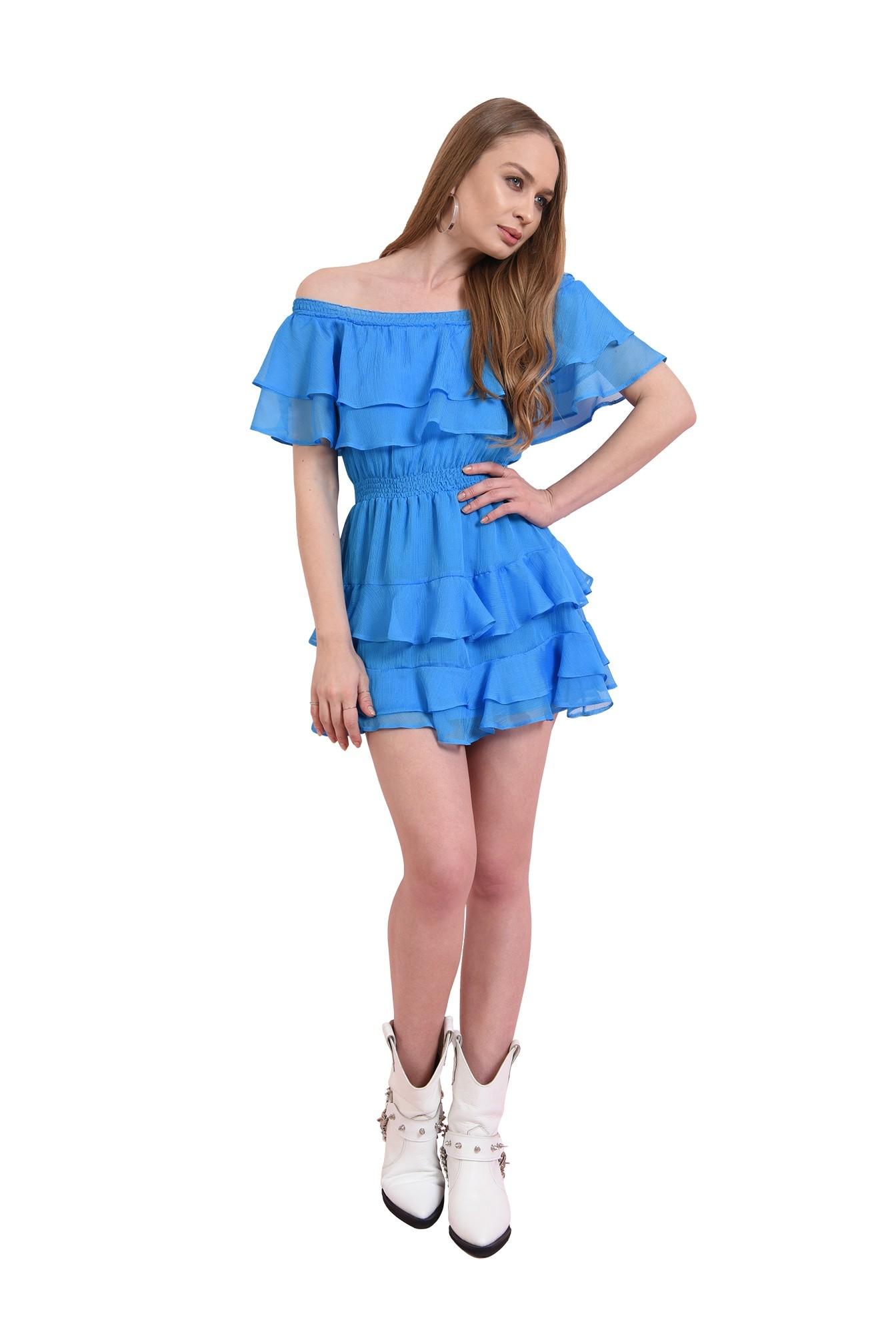 3 - rochie albastra, evazata, cu volane