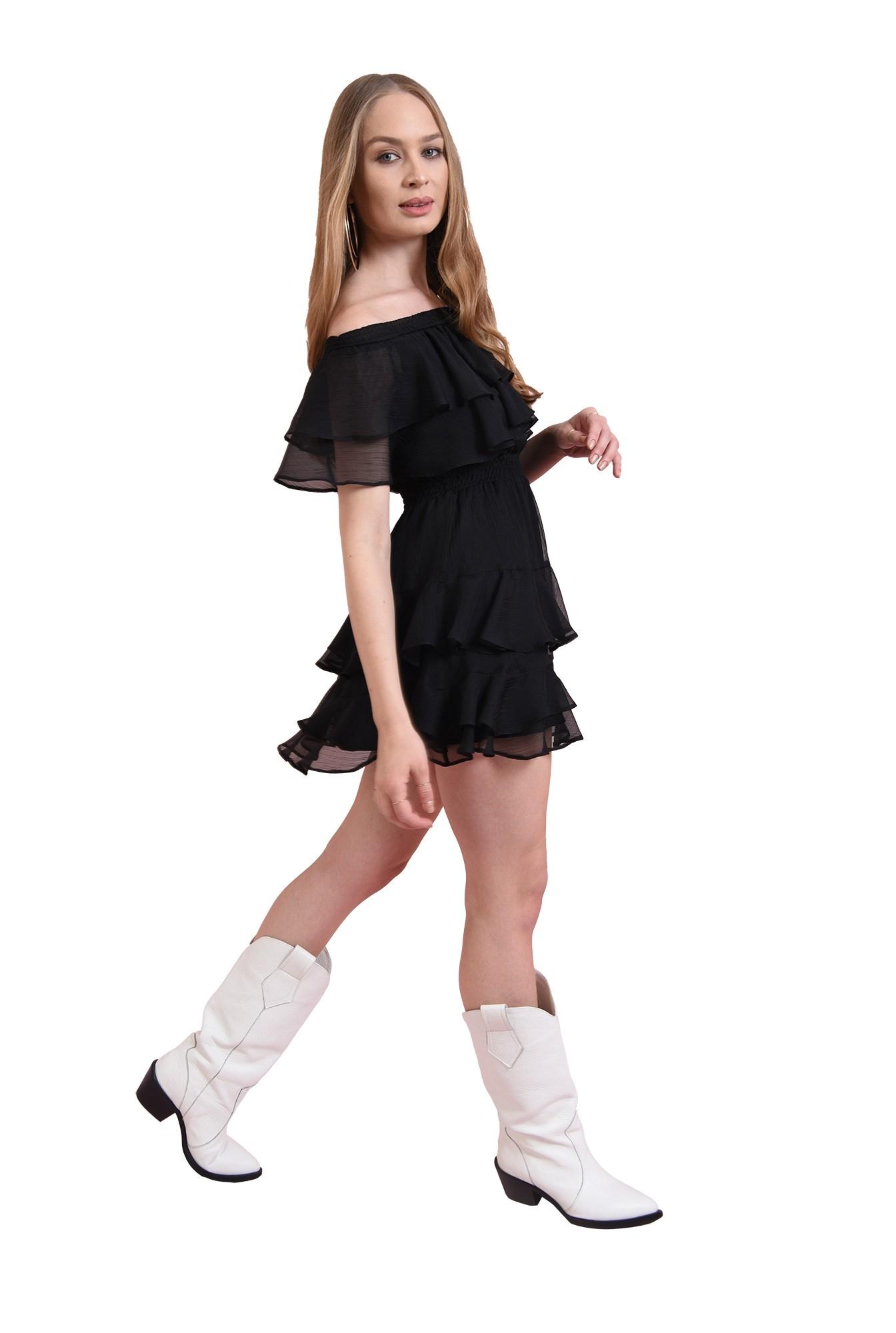 3 - rochie din voal creponat, stransala talie