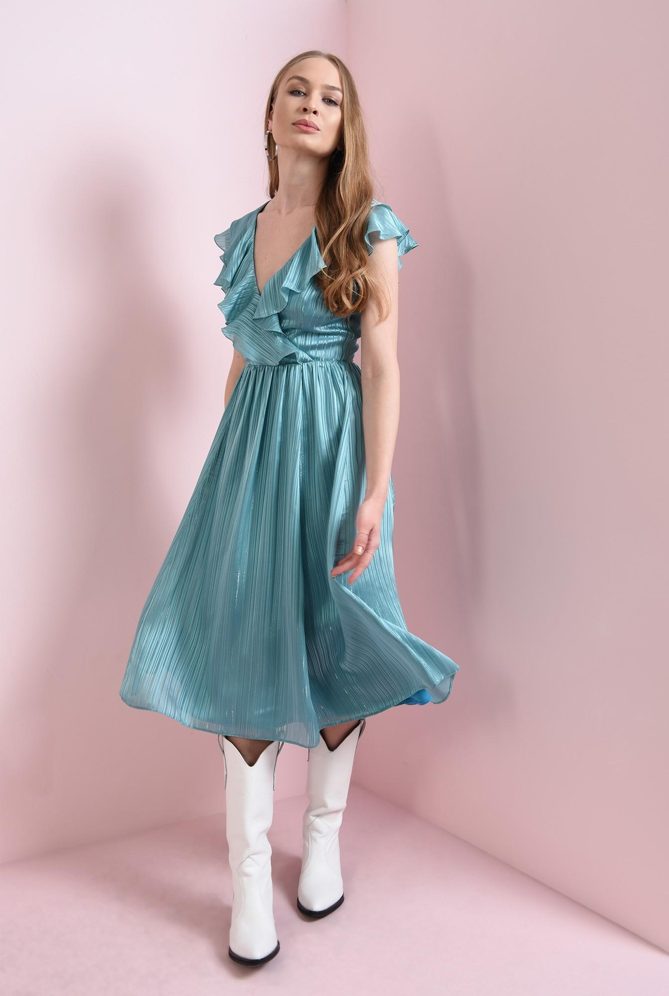 2 - rochie turcoaz, cu volanela bust