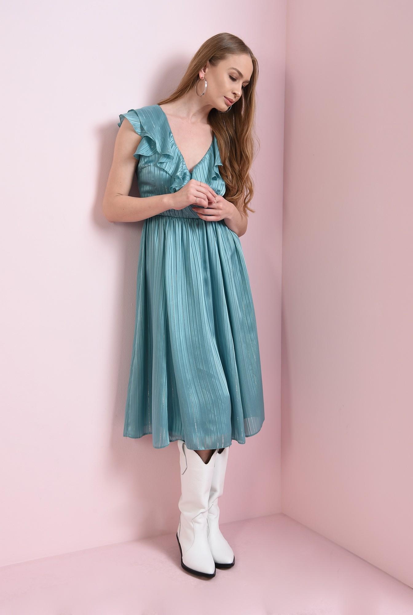 1 - rochie turcoaz, cu volanela bust