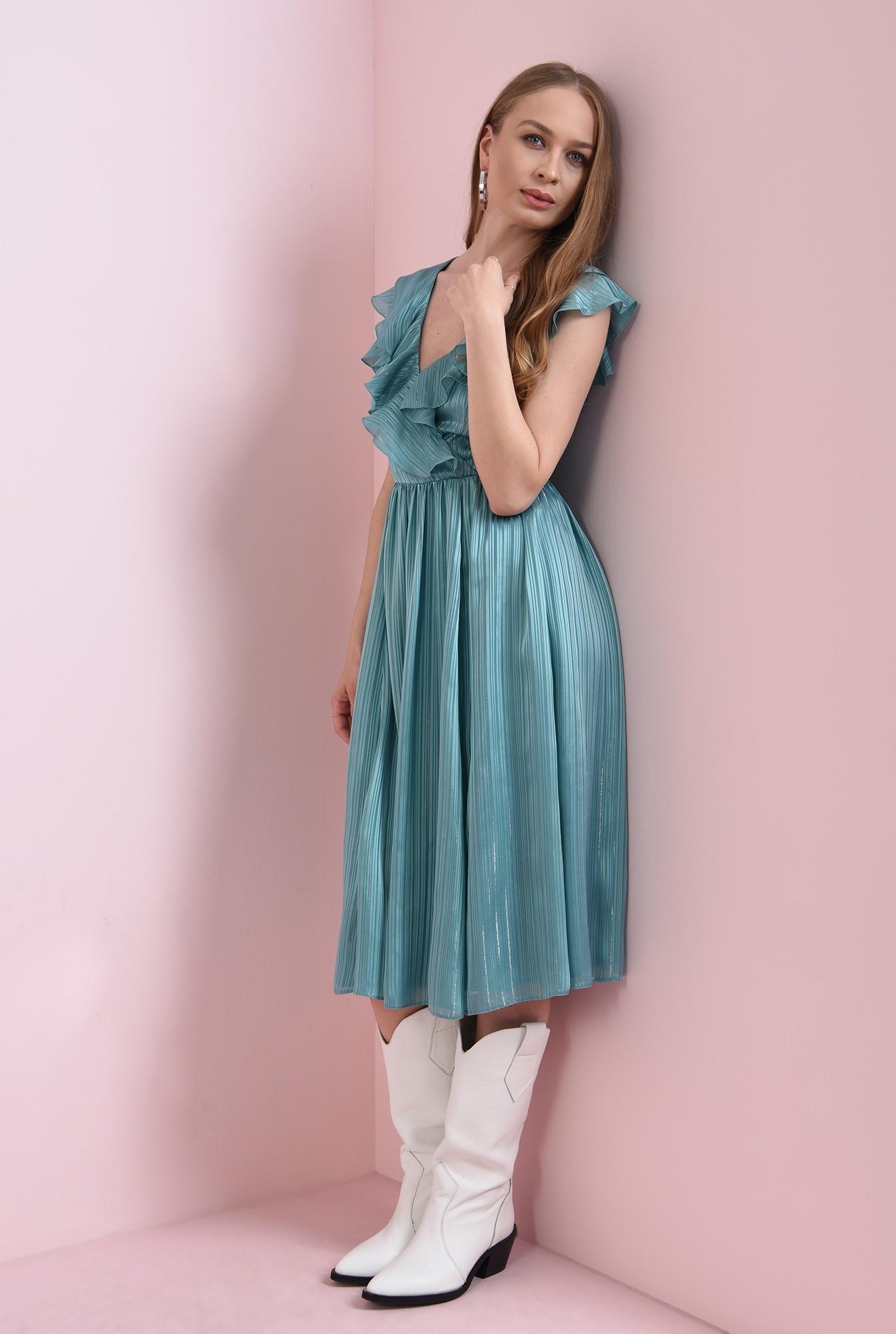 0 - rochie turcoaz, cu volanela bust