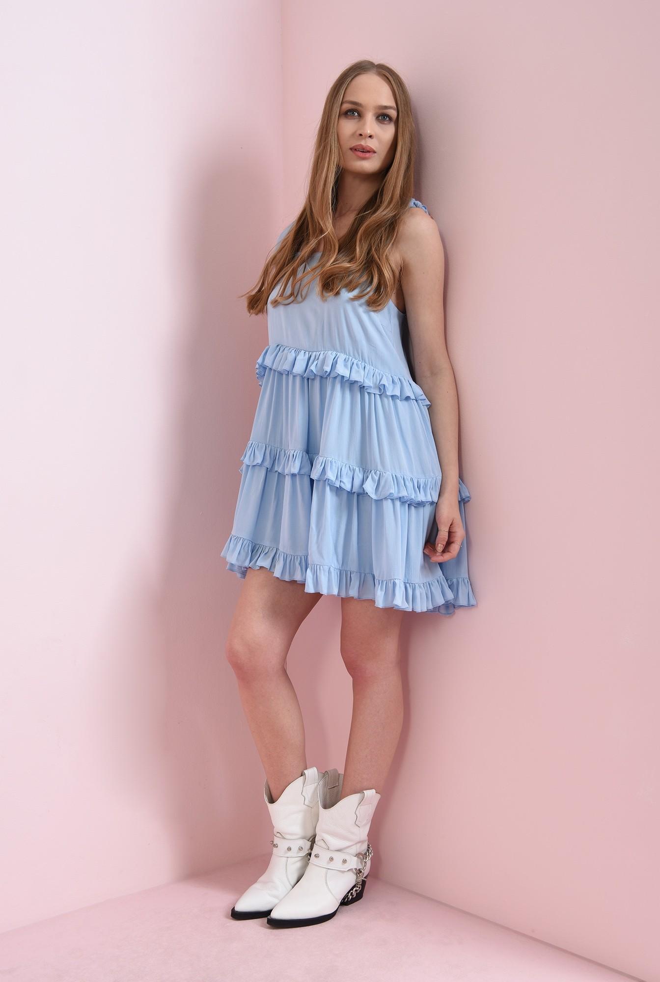 1 - rochie casual, evazata, bleu