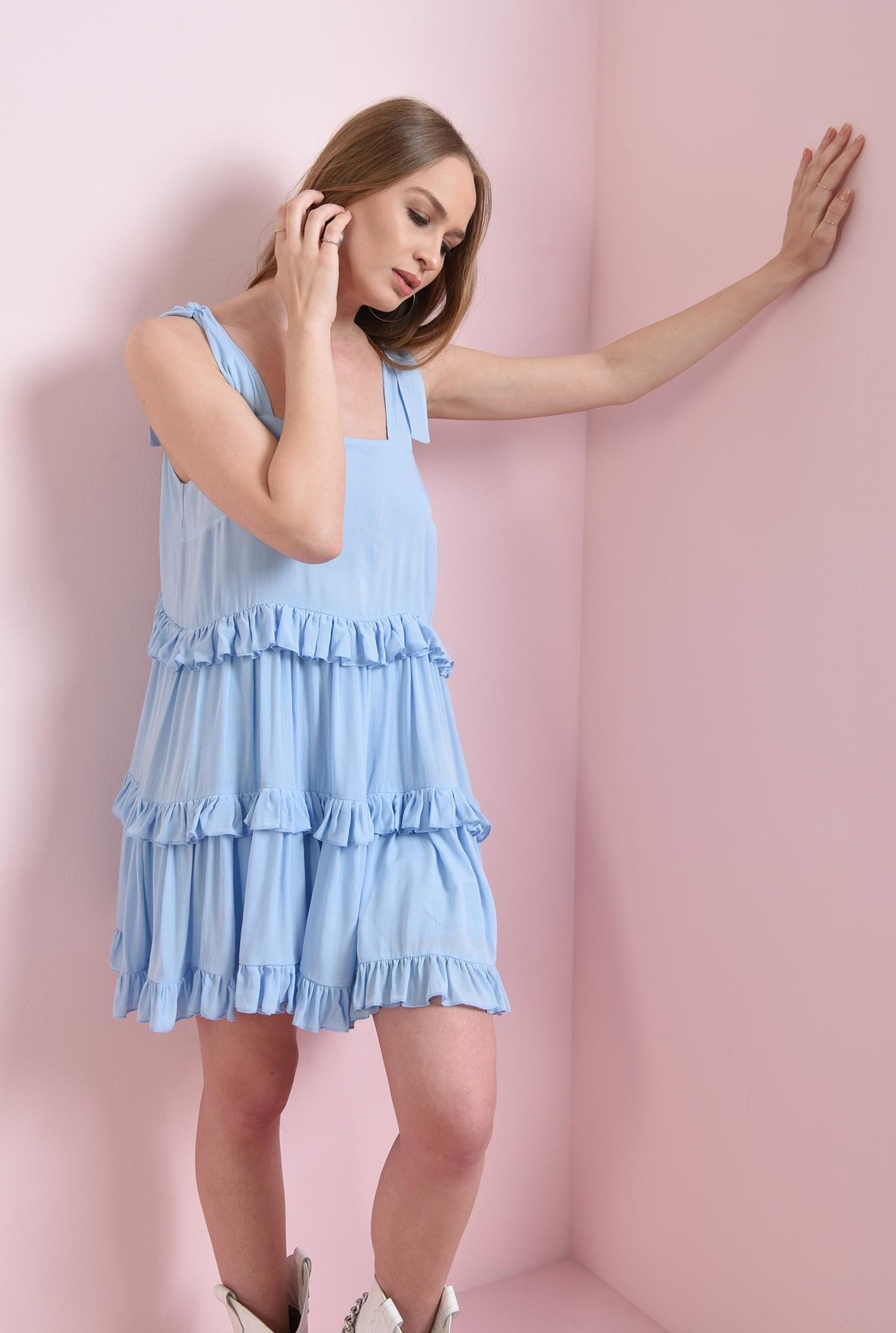 2 - rochie casual, evazata, bleu