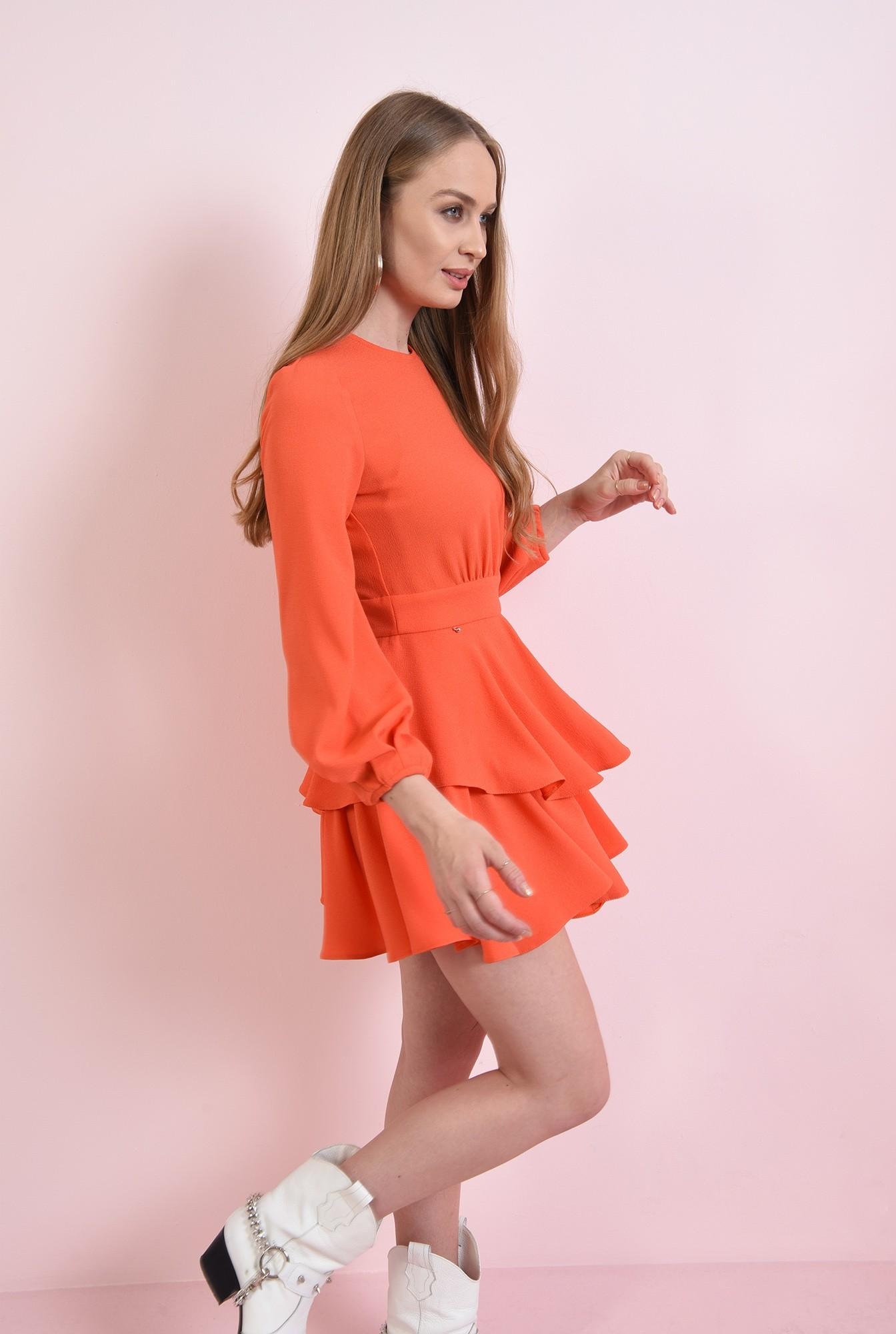 1 - rochie scurta, orange, cu volane