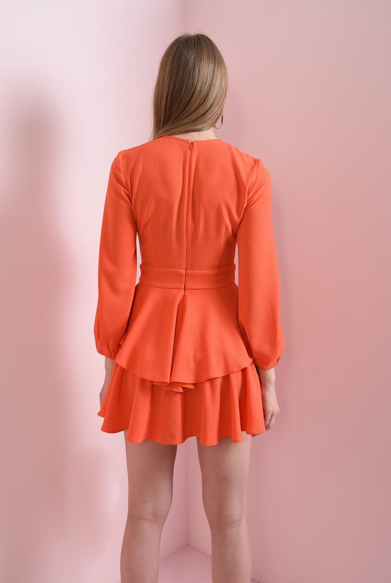 2 - rochie scurta, orange, cu volane