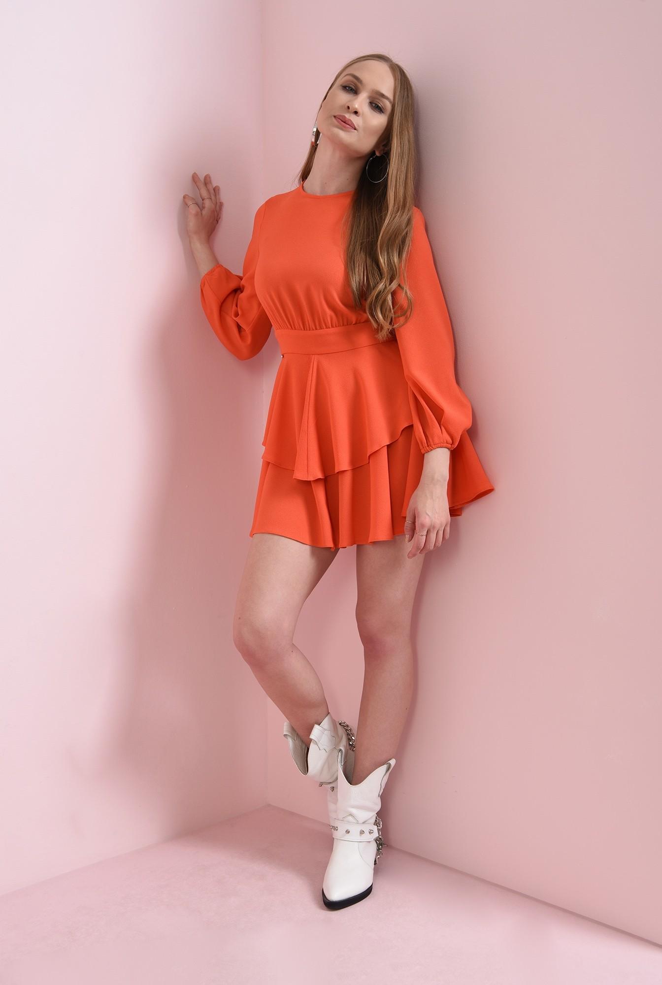 0 - rochie scurta, orange, cu volane