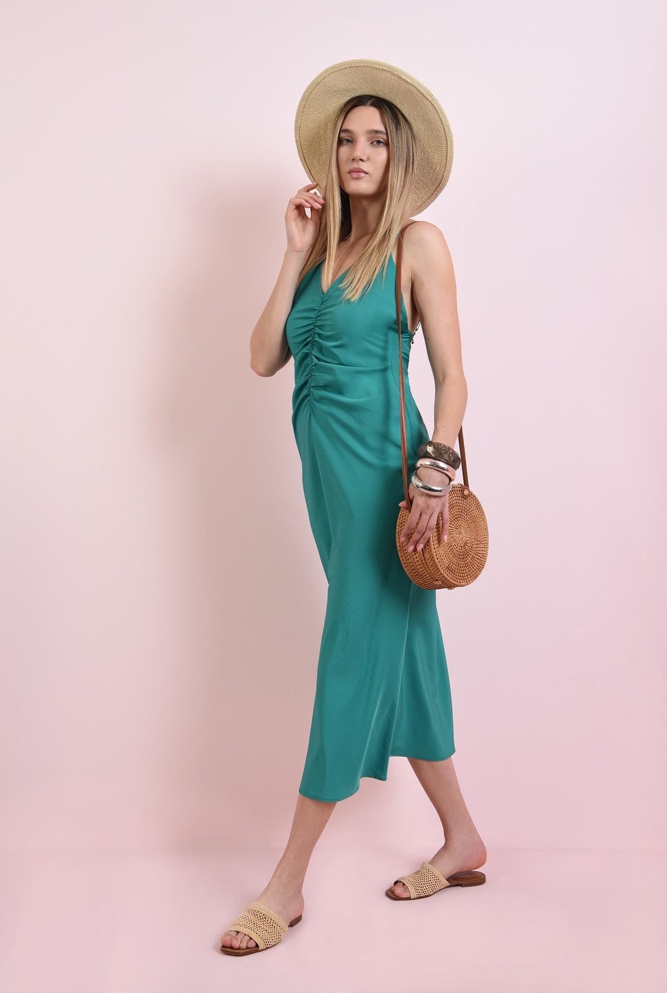 1 - rochie verde, midi, cu bretele