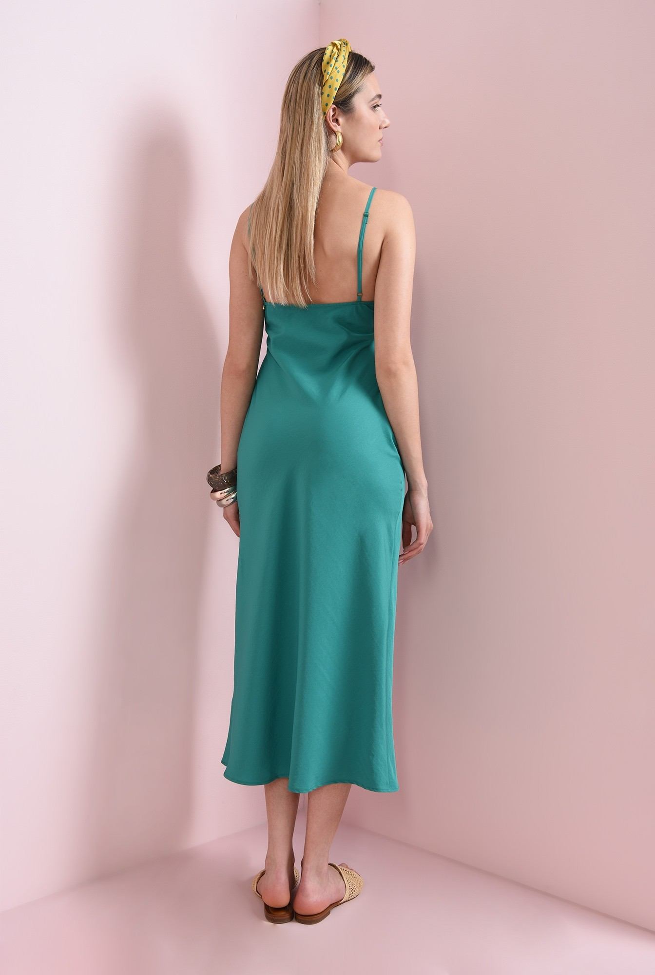 2 - rochie verde, midi, cu bretele