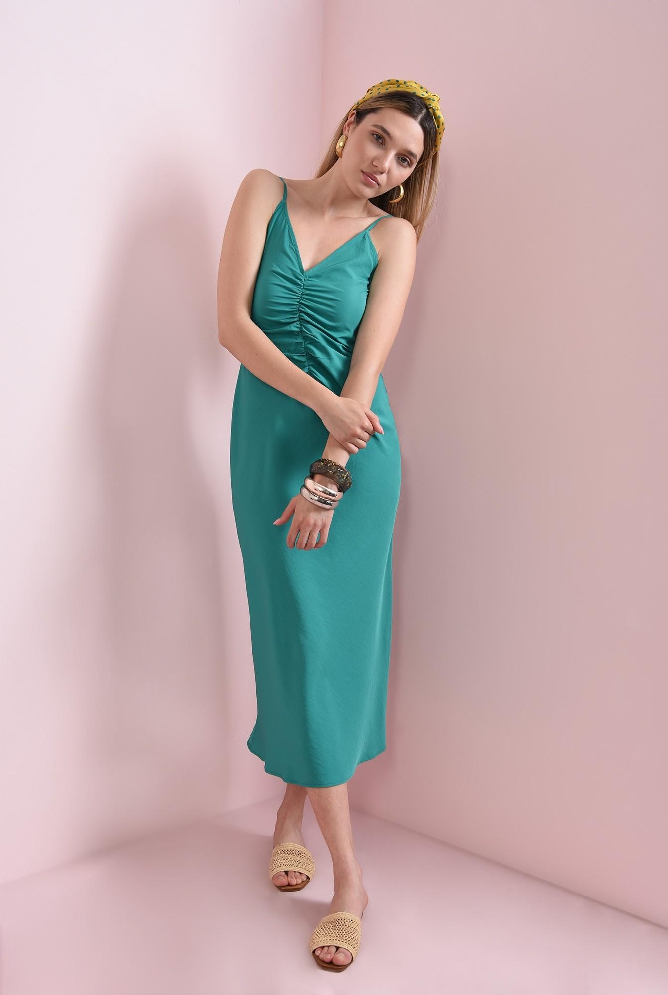 0 - rochie verde, midi, cu bretele