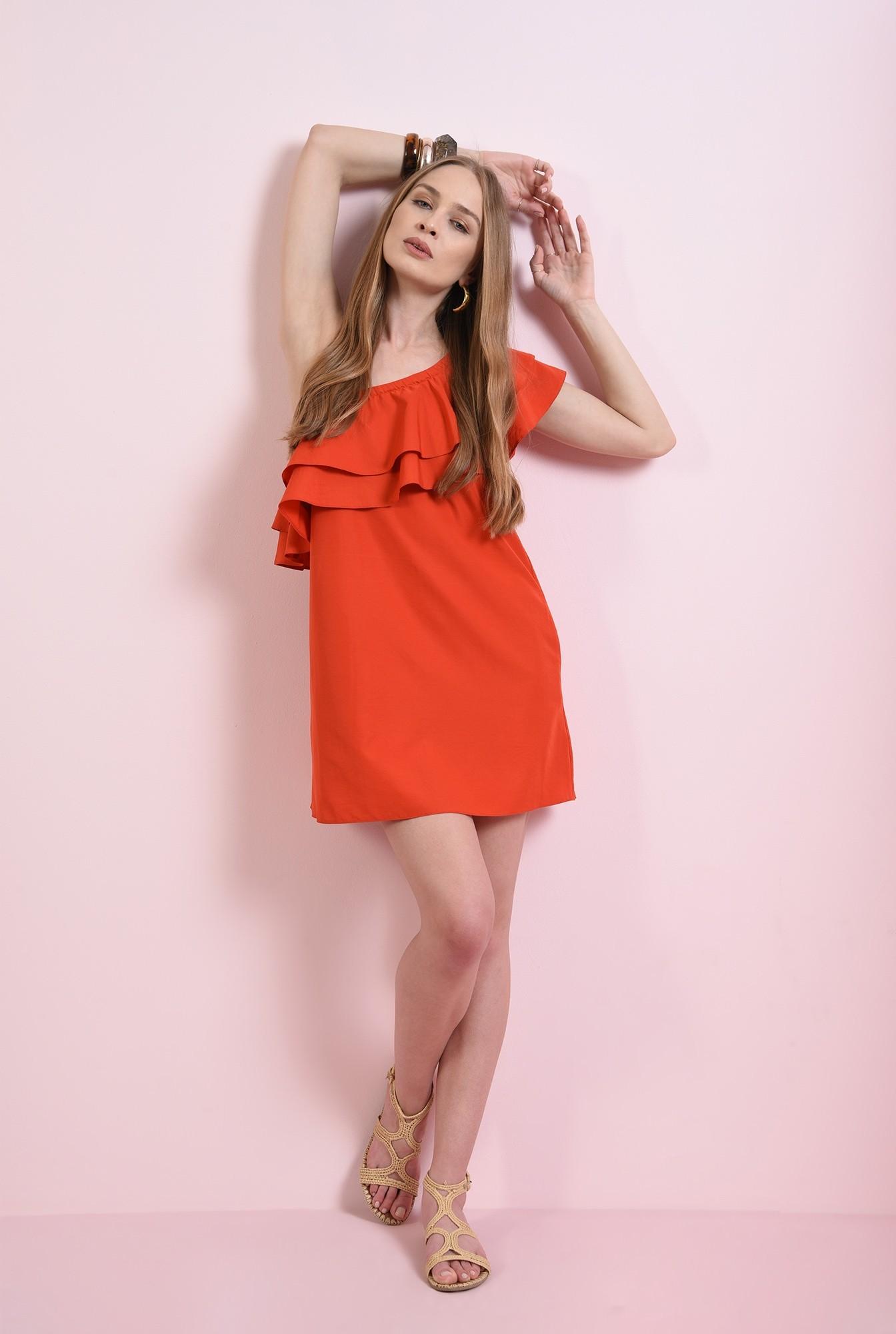 2 - rochie mini, rosie, cu buzunare