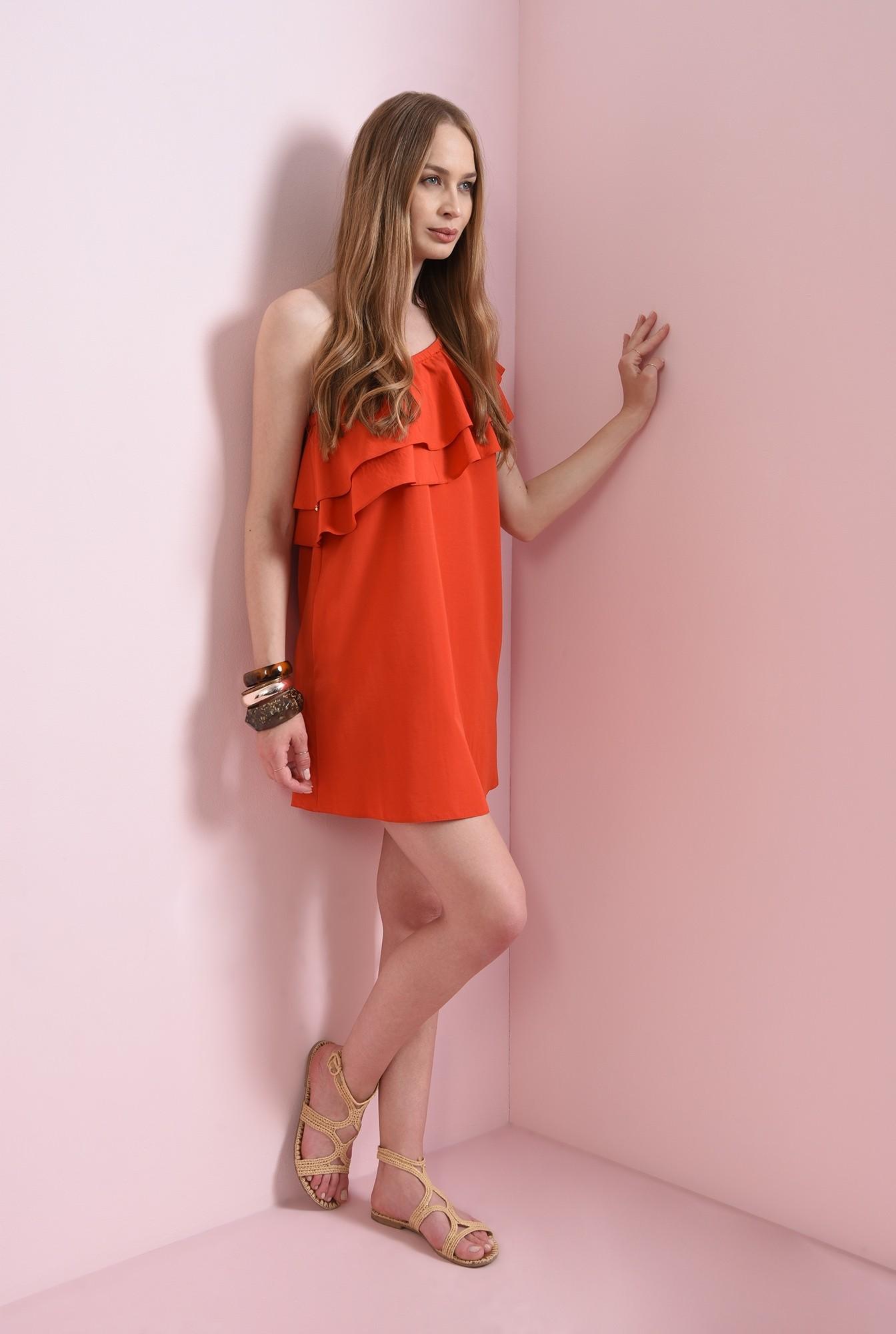 1 - rochie mini, rosie, cu buzunare