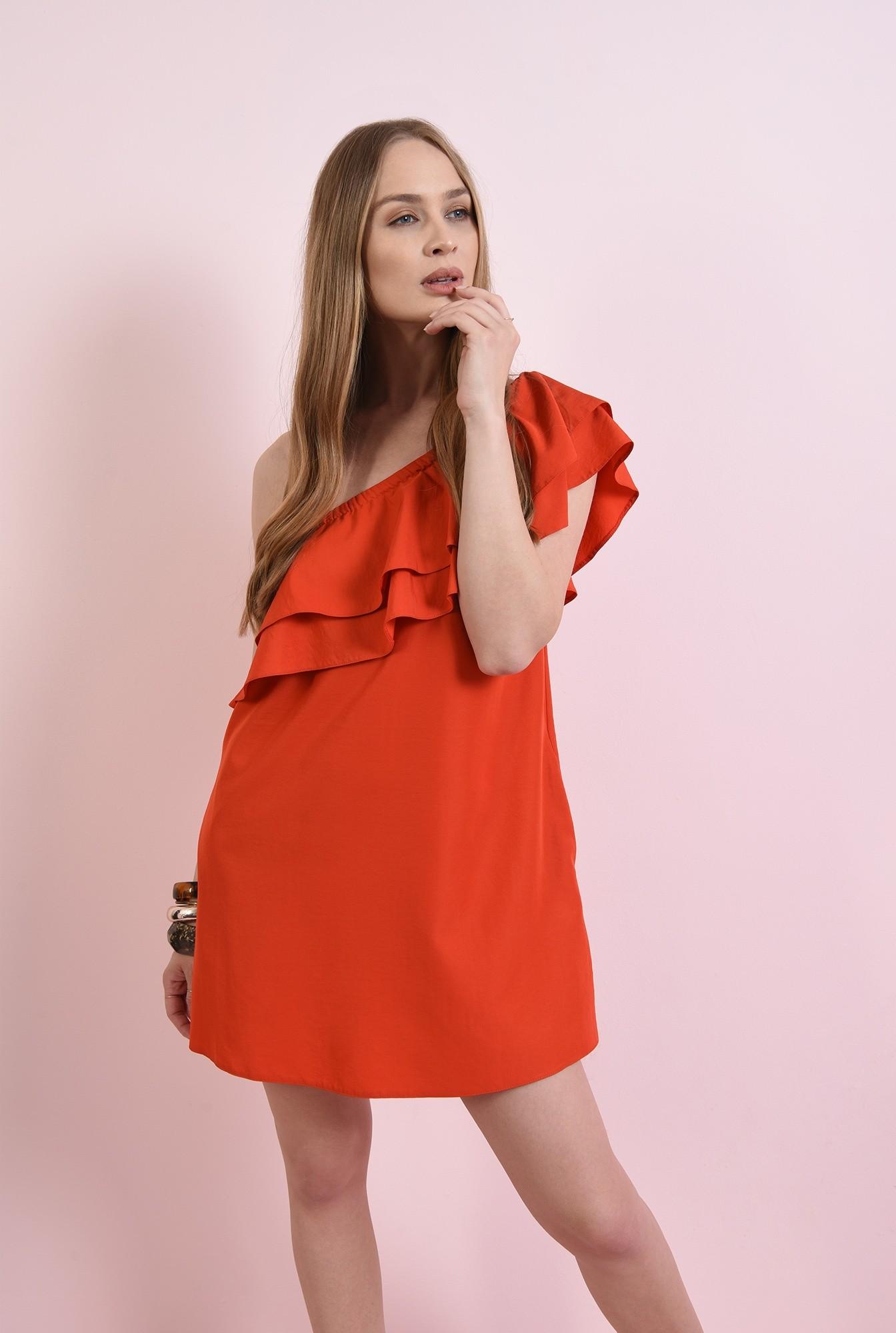 0 - rochie mini, rosie, cu buzunare
