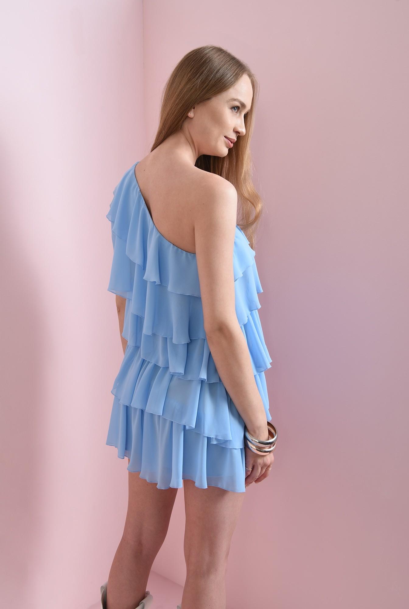 1 - rochie cu volane multiple, bleu