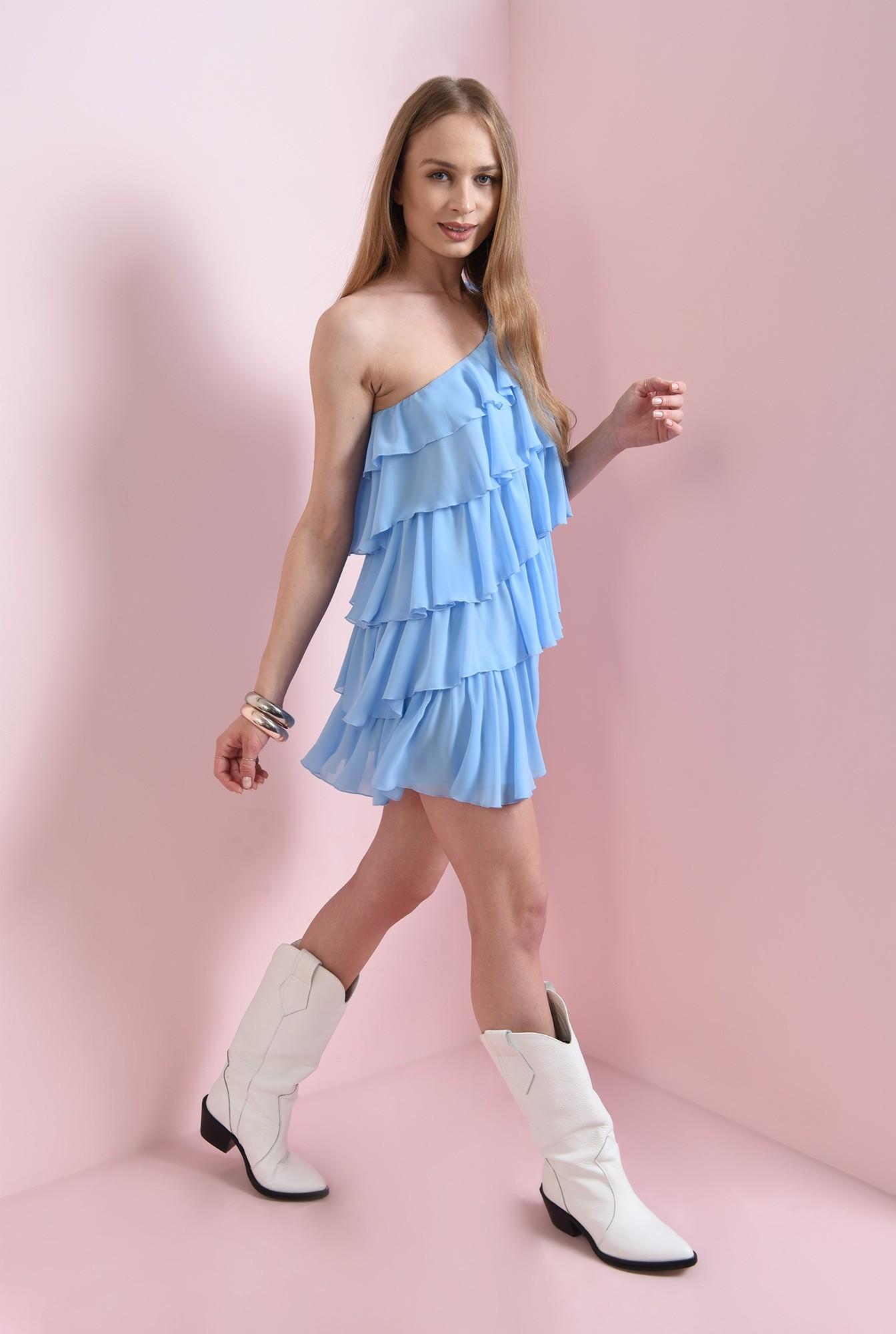 0 - rochie cu volane multiple, bleu