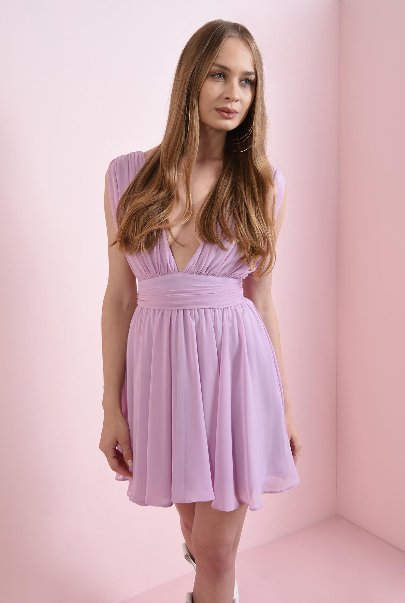 2 - rochie lila, scurta, din voal