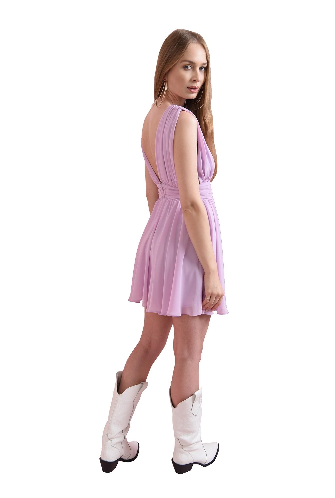 3 - rochie lila, scurta, din voal