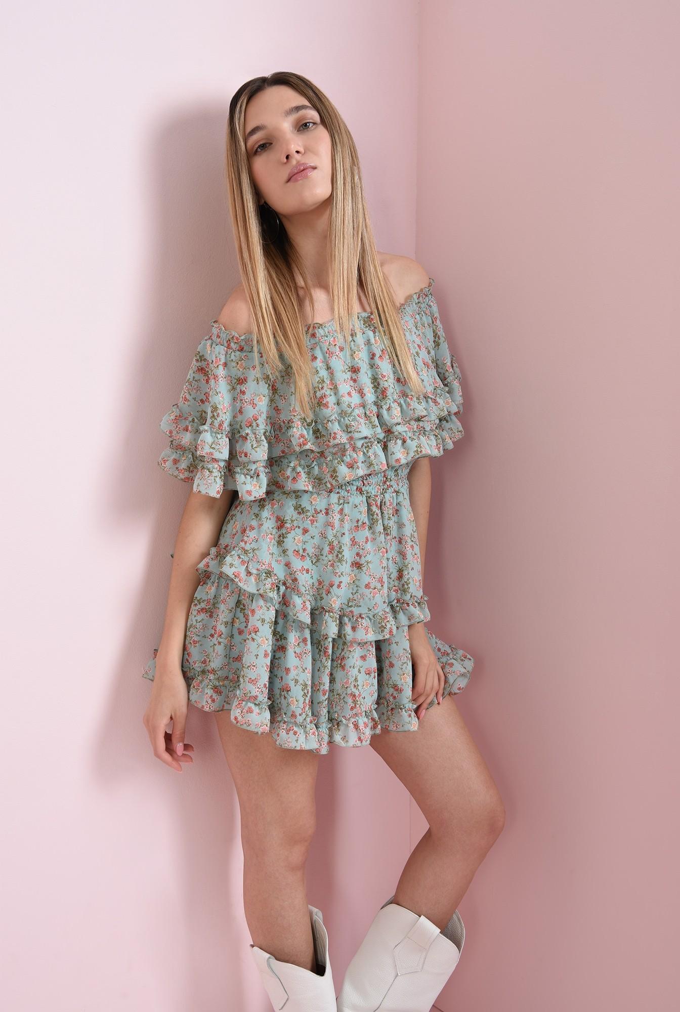 1 - rochie cu imprimeu floral, cu volane
